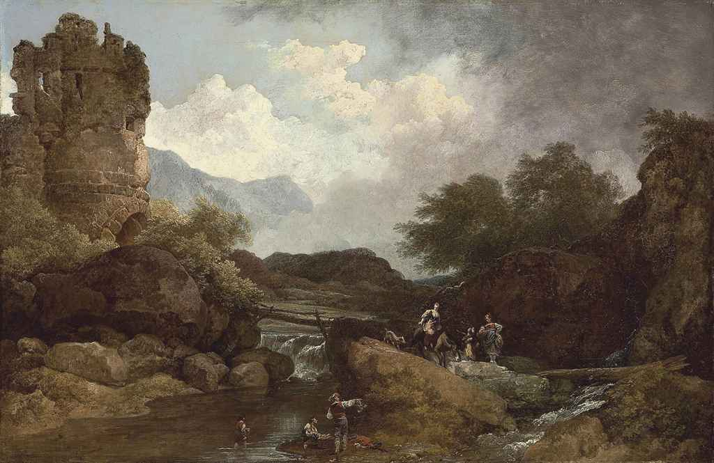 A wooded river landscape, with a ruin and travellers
