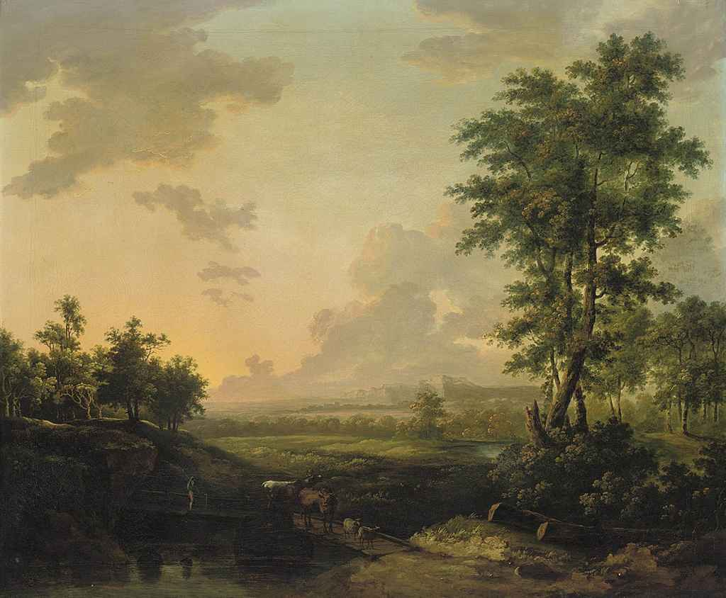 A wooded river landscape with a drover crossing a bridge with his cattle