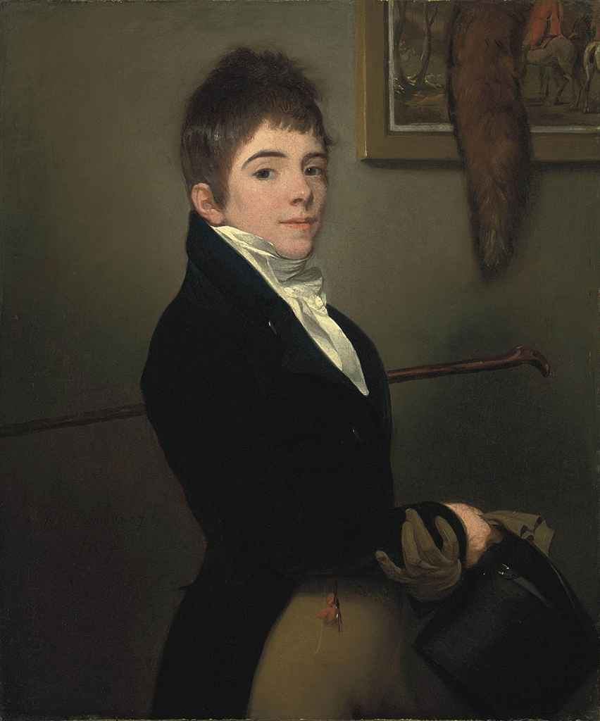 Portrait of a young boy, half-length, in a blue coat, a stick under his left arm, a glove and hat in his right hand, standing beside a painting of a hunting scene and a hanging fox's brush