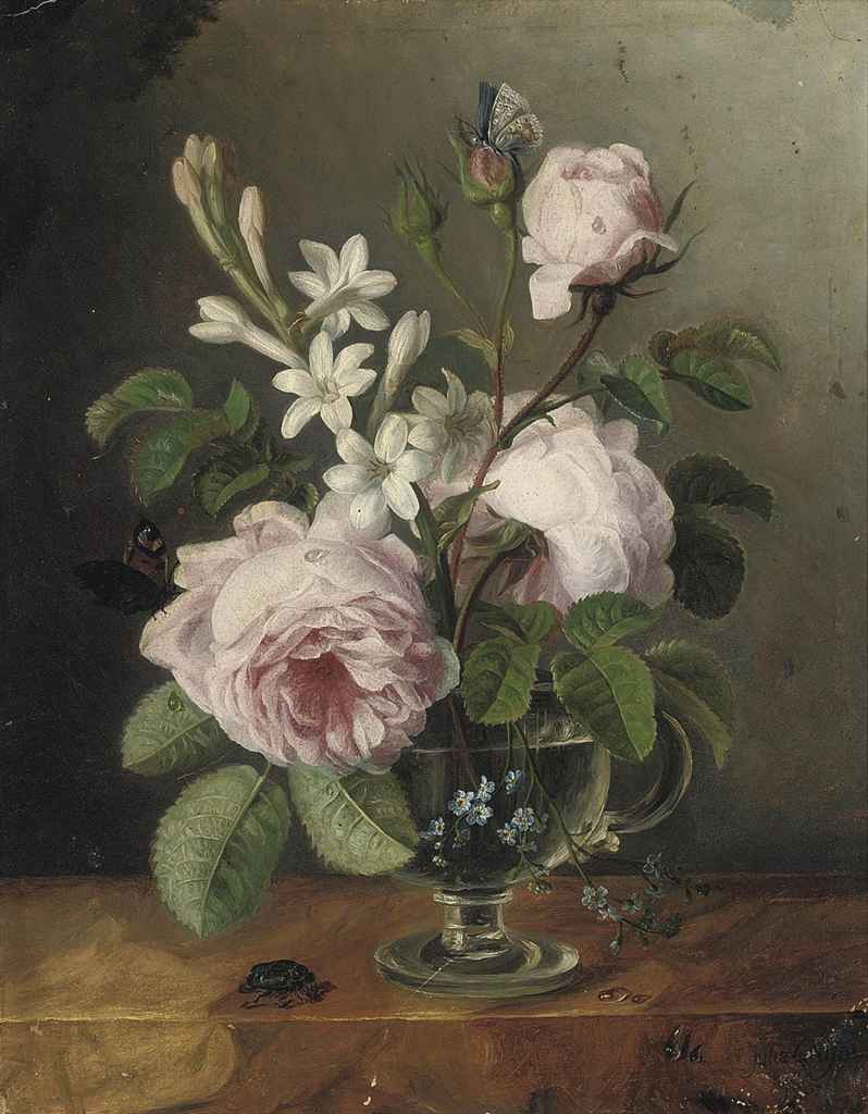Roses, forget-me-nots and other flowers in a glass vase on a ledge