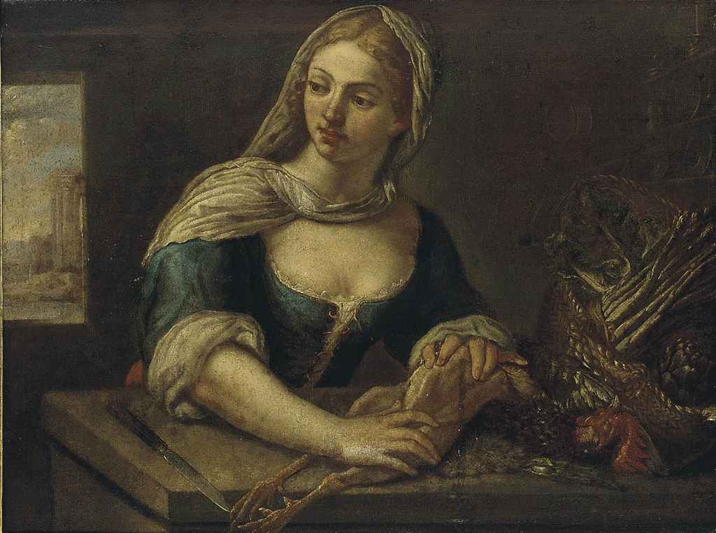 A young girl plucking a bird