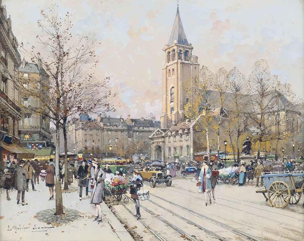 A bustling street at l'Eglise de St-Germain-des-Prés, Paris