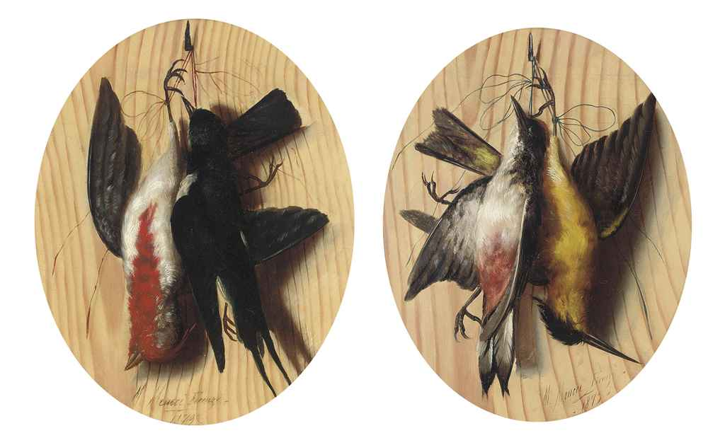 A trompe l'oeil with two songbirds hanging from a nail