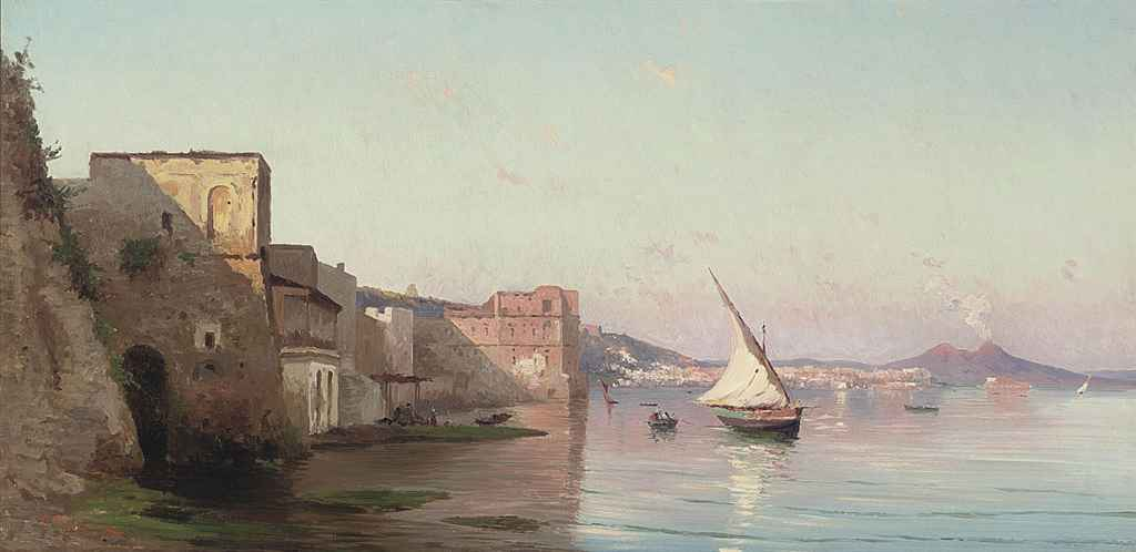 Fishing vessels by the Palazzo Donn'Anna, Naples
