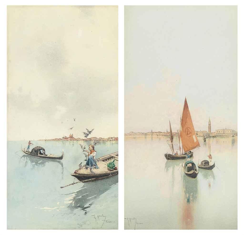 Feeding the birds on the Venetian lagoon; and Gondolas and a fishing boat before Venice