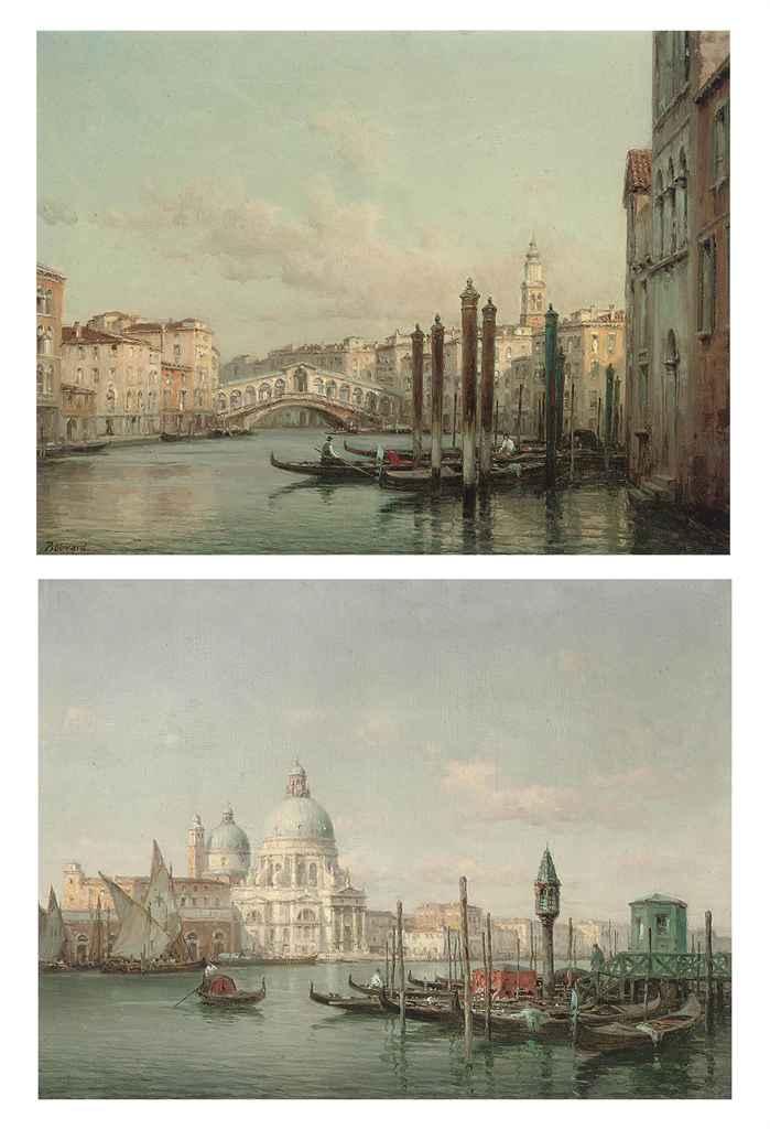 Gondoliers before the Rialto bridge; and Gondoliers before Santa Maria della Salute, Venice