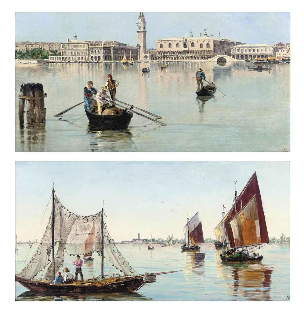 The Bacino di San Marco, Venice; and Fishermen on the Venetian lagoon