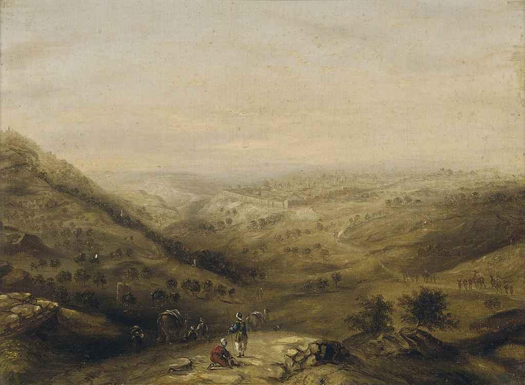 A camel train before Jerusalem