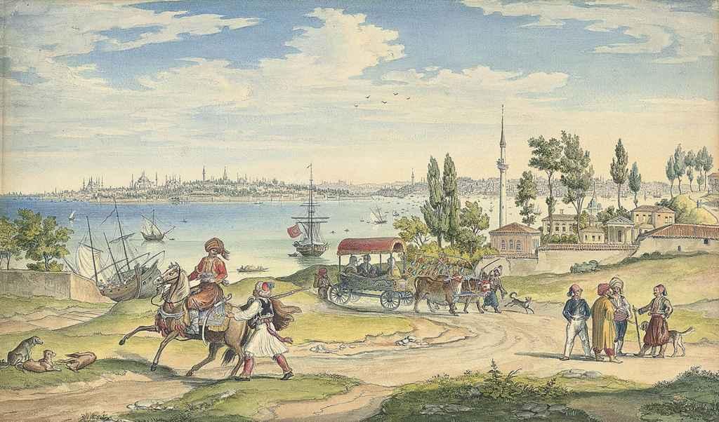 Dignitaries landing on the shore, Istanbul beyond
