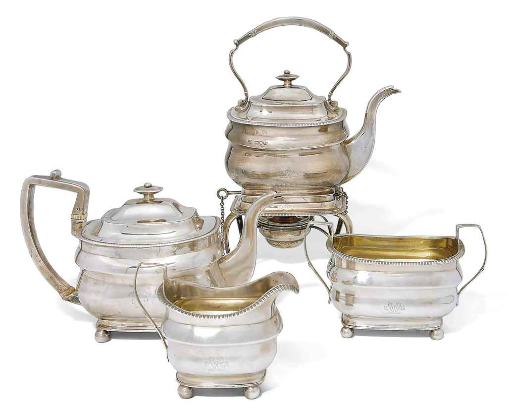 A GEORGE III SILVER THREE-PIECE TEA SERVICE WITH MATCHING VICTORIAN SILVER KETTLE ON STAND