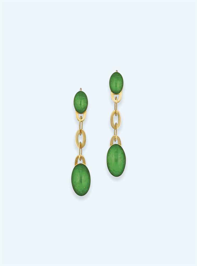 A pair of green foiled rock crystal earpendants, by Vhernier