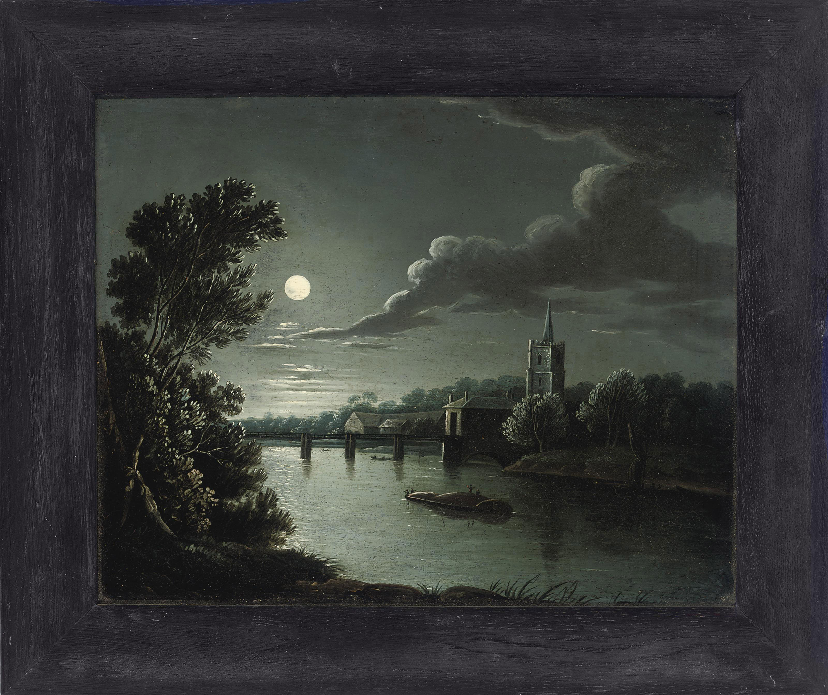 A moonlit river landscape with figures on a boat, a church beyond