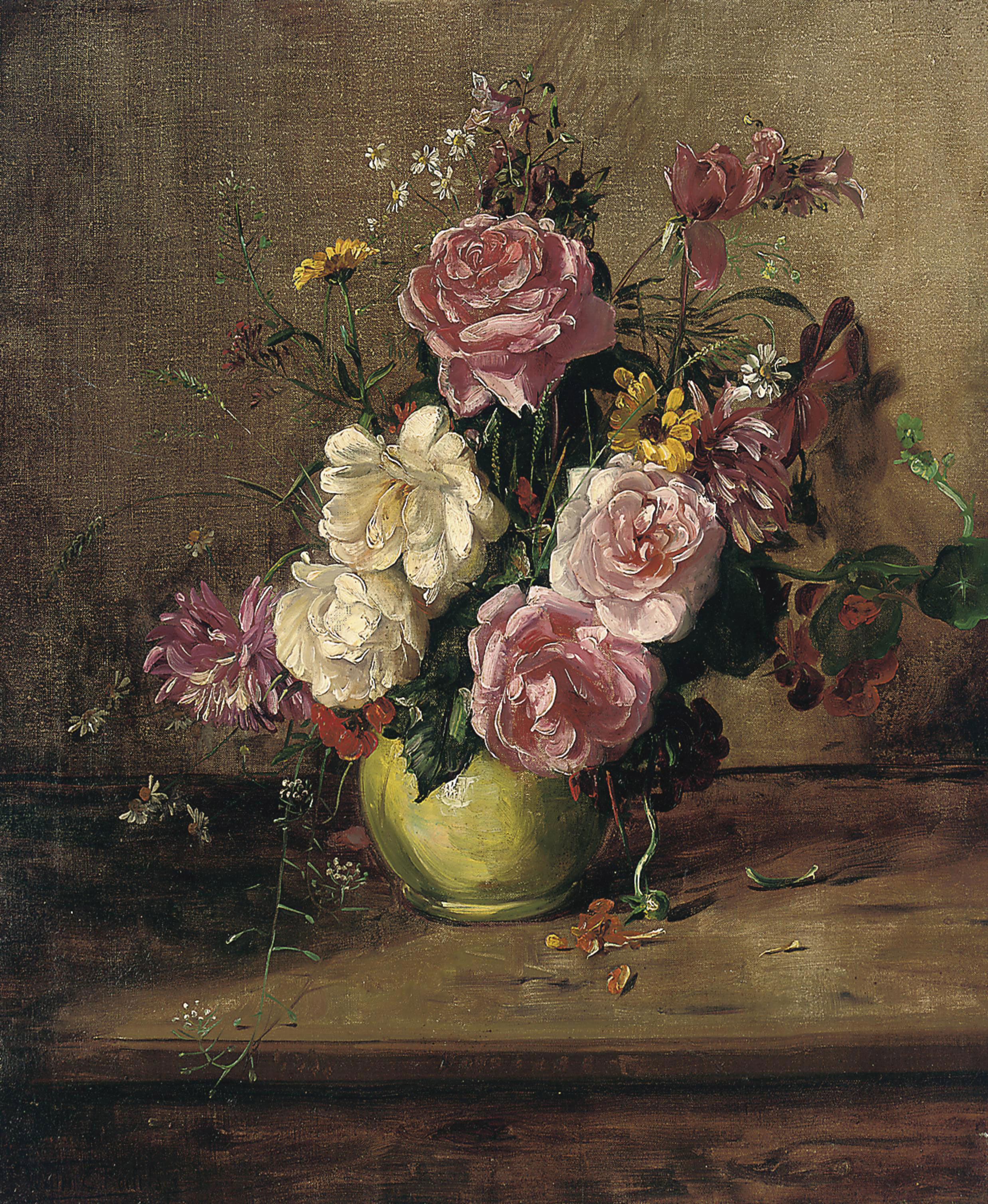 Roses, crysanthemums and other flowers in a green vase, on a wooden ledge