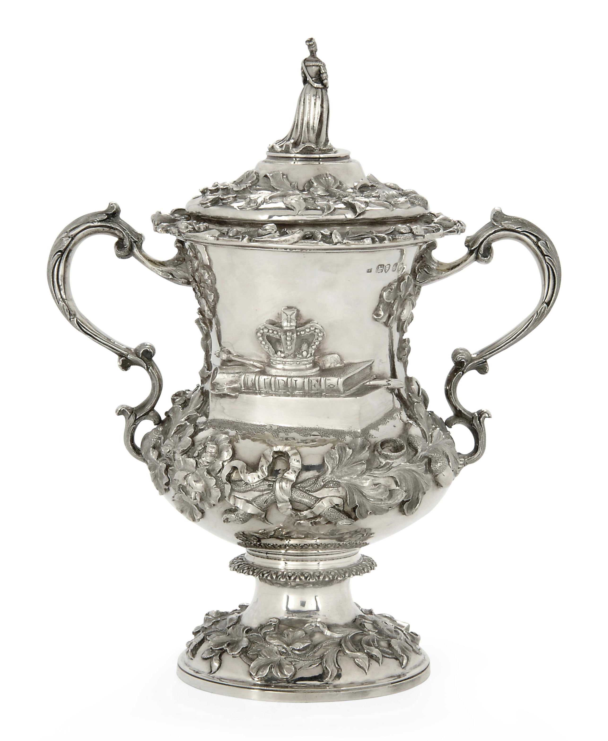 A VICTORIAN SILVER PRIZE CUP AND COVER,