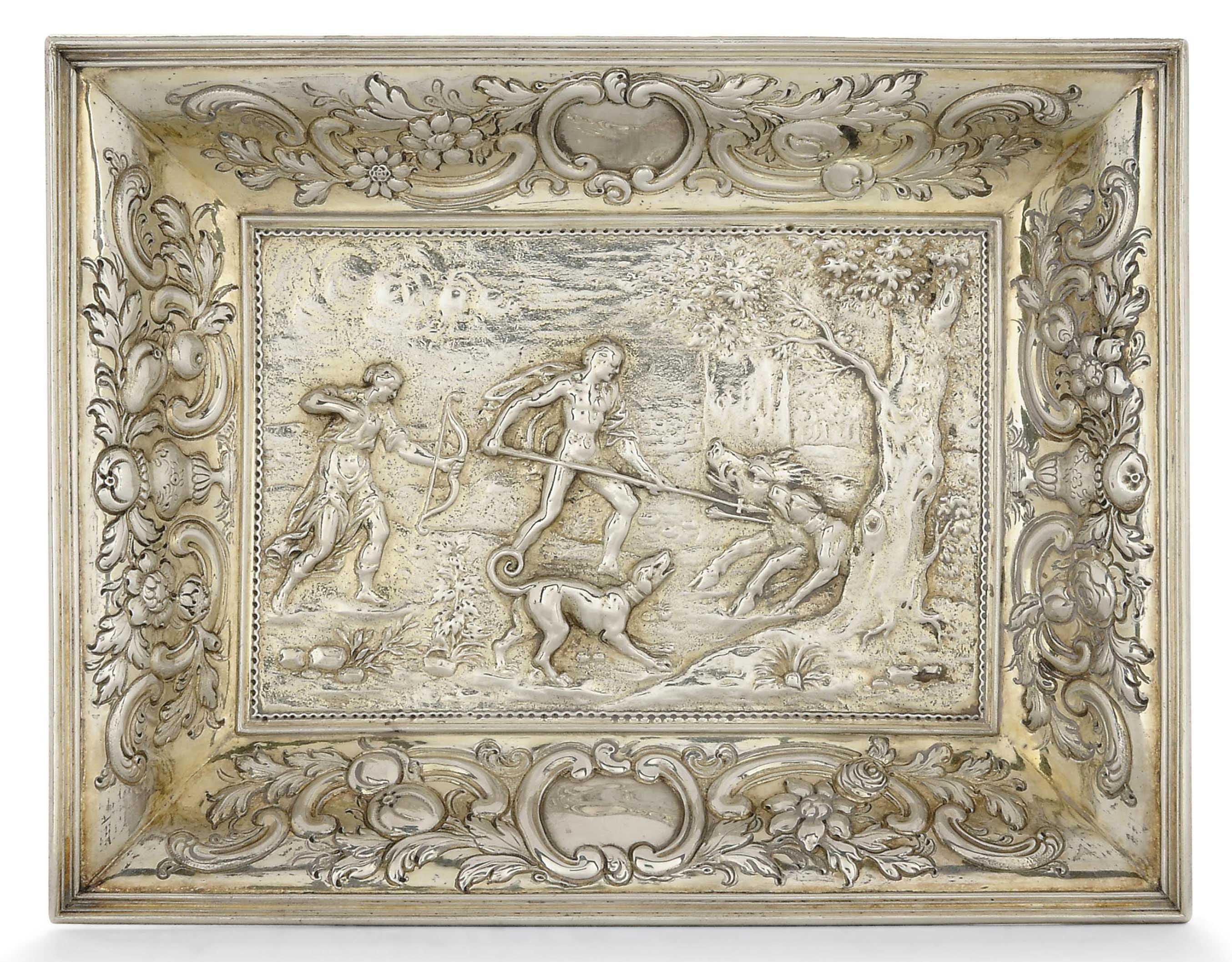 A GEORGE III SILVER-GILT DRESSING TABLE TRAY