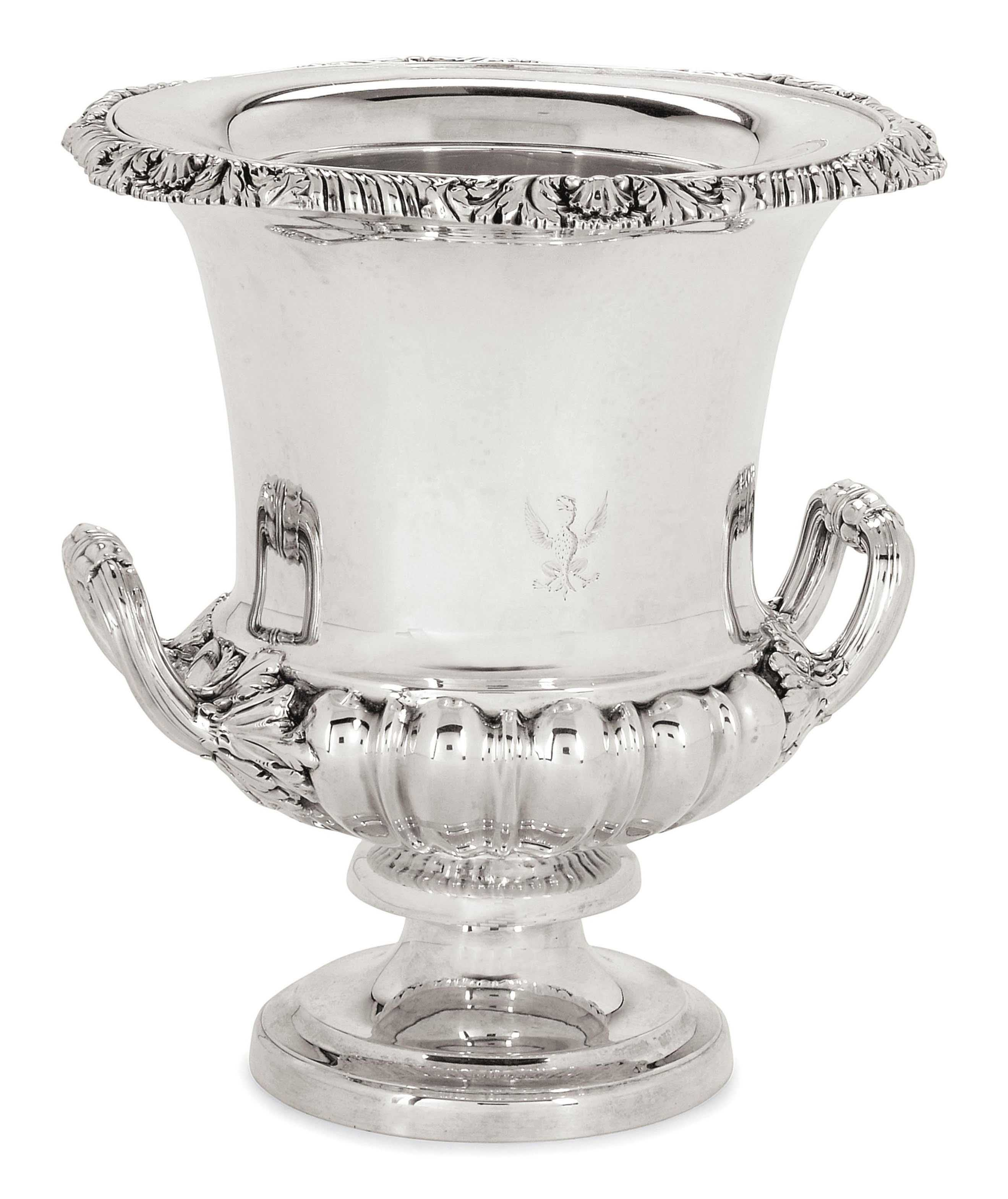 A GEORGE IV SILVER WINE COOLER