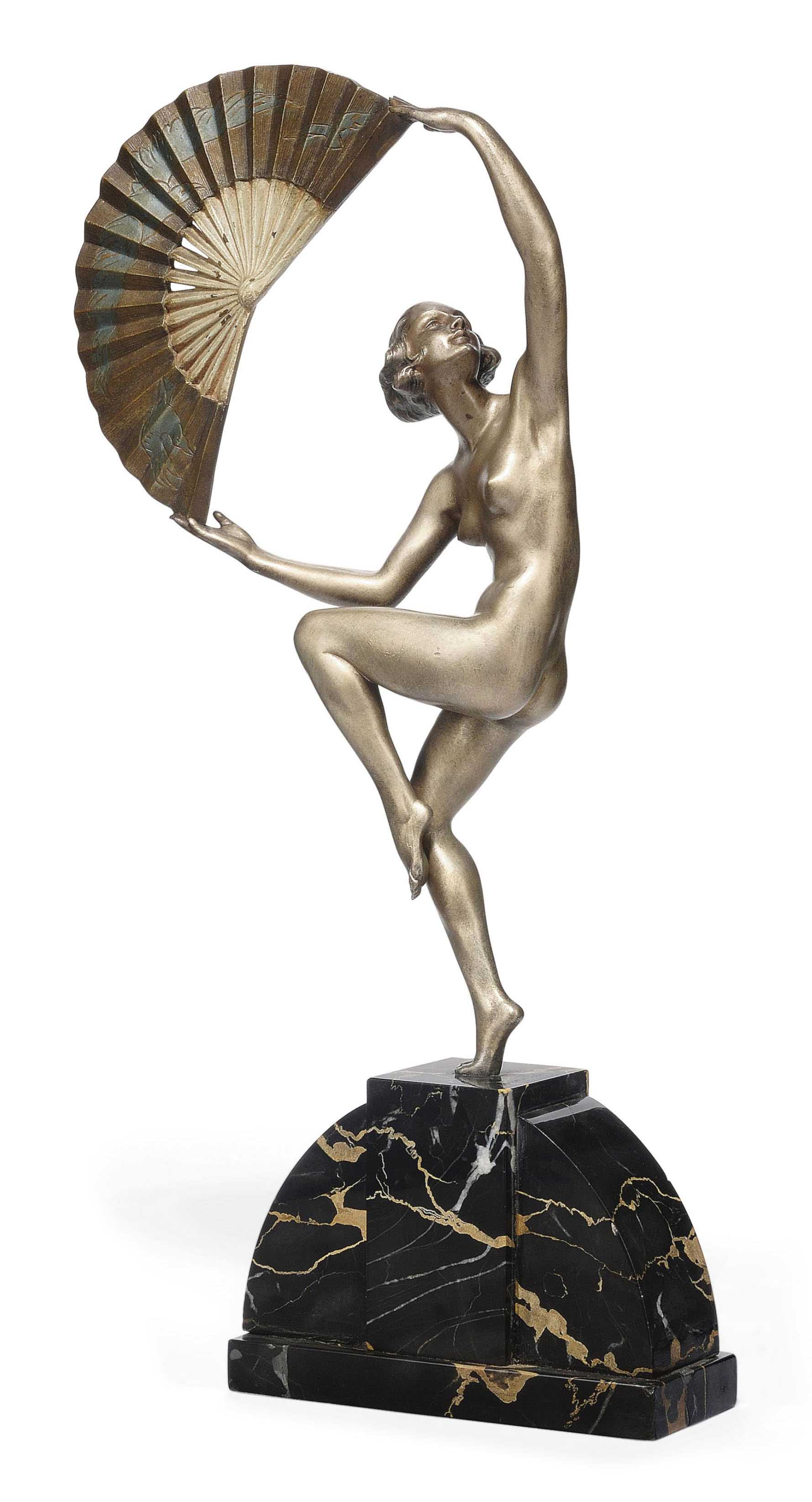 'FAN DANCER' A COLD-PAINTED BRONZE FIGURE BY MARCEL-ANDRE BOURAINE