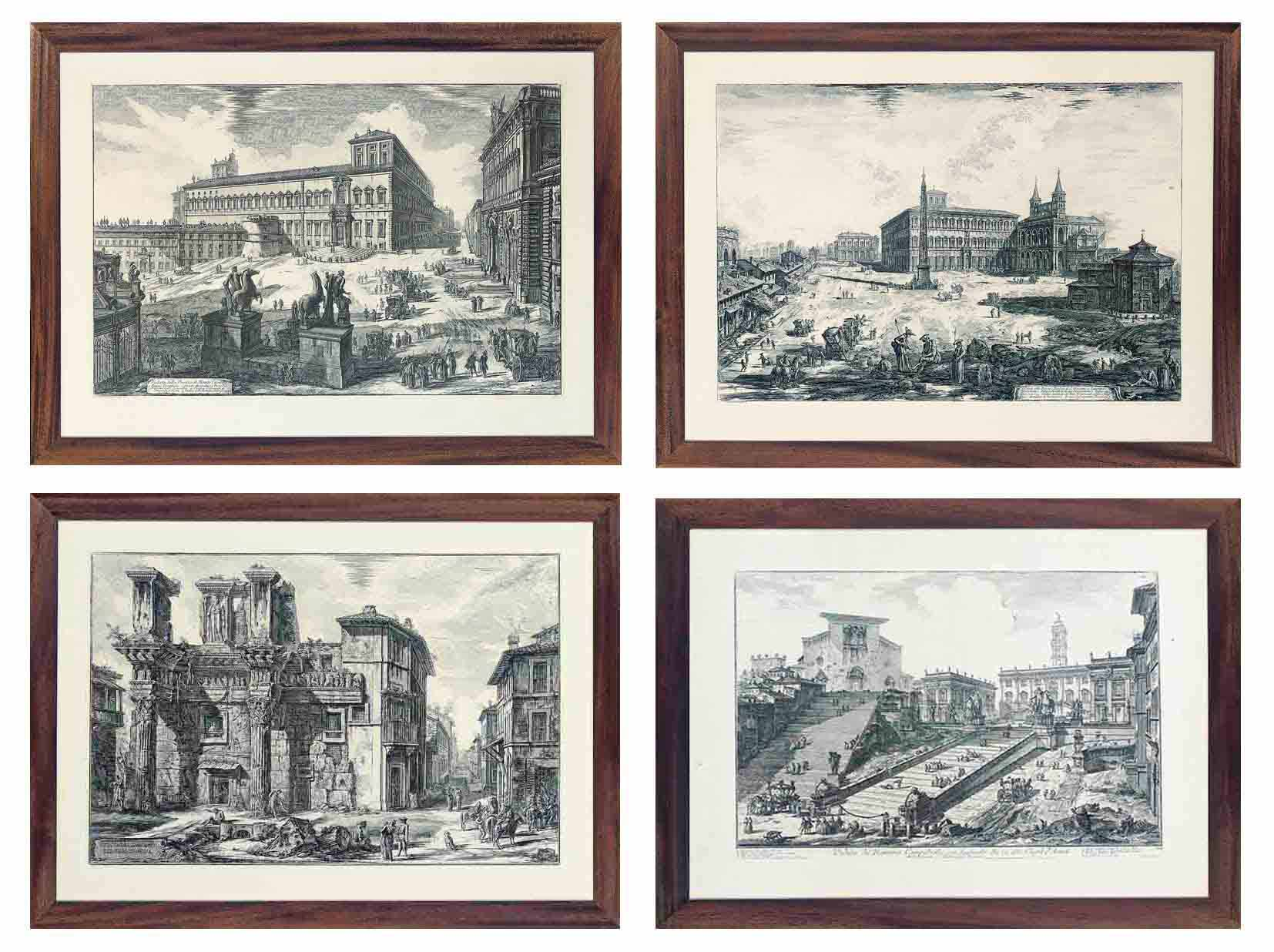 Views of Rome: The Capitol and the Steps of S. Maria in Aracoeli; Trajan's Column; The Forum of Nerva. Interior of enclosure walls with the two half buried corinthian columns; The Piazza del Quirinale, with the statues of the horse-tamers seen from the back; The piazza and Basilica of S. Giovanni in Laterano (side façade), with the obelisk, palace, and Scala Santa; The Tiber at the mouth of the Colocac Maxima, formerly called the Bel Lido; and The interior of the Pantheon