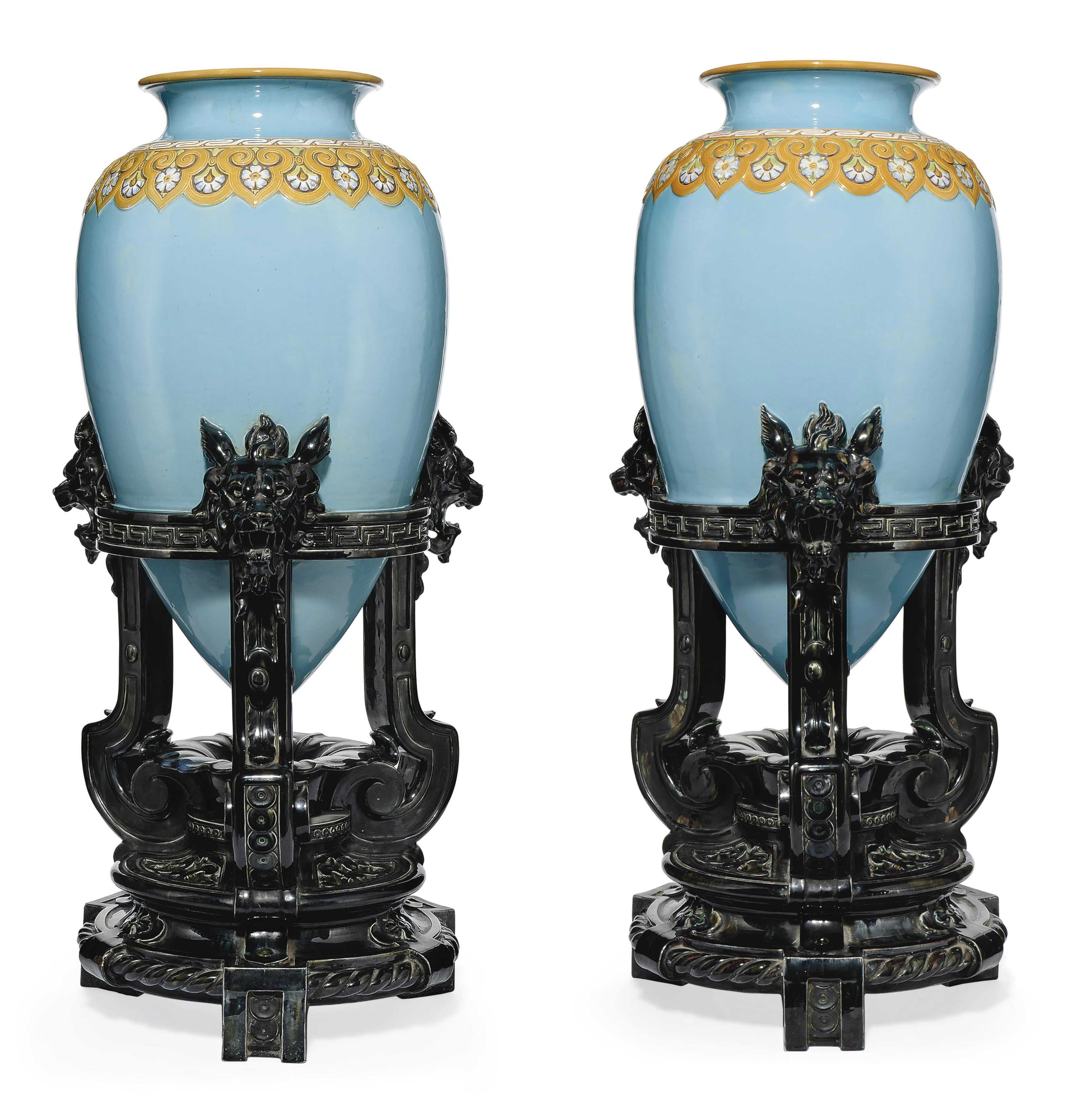 A PAIR OF MINTONS MAJOLICA TURQUOISE-GROUND 'CHINESE' VASES