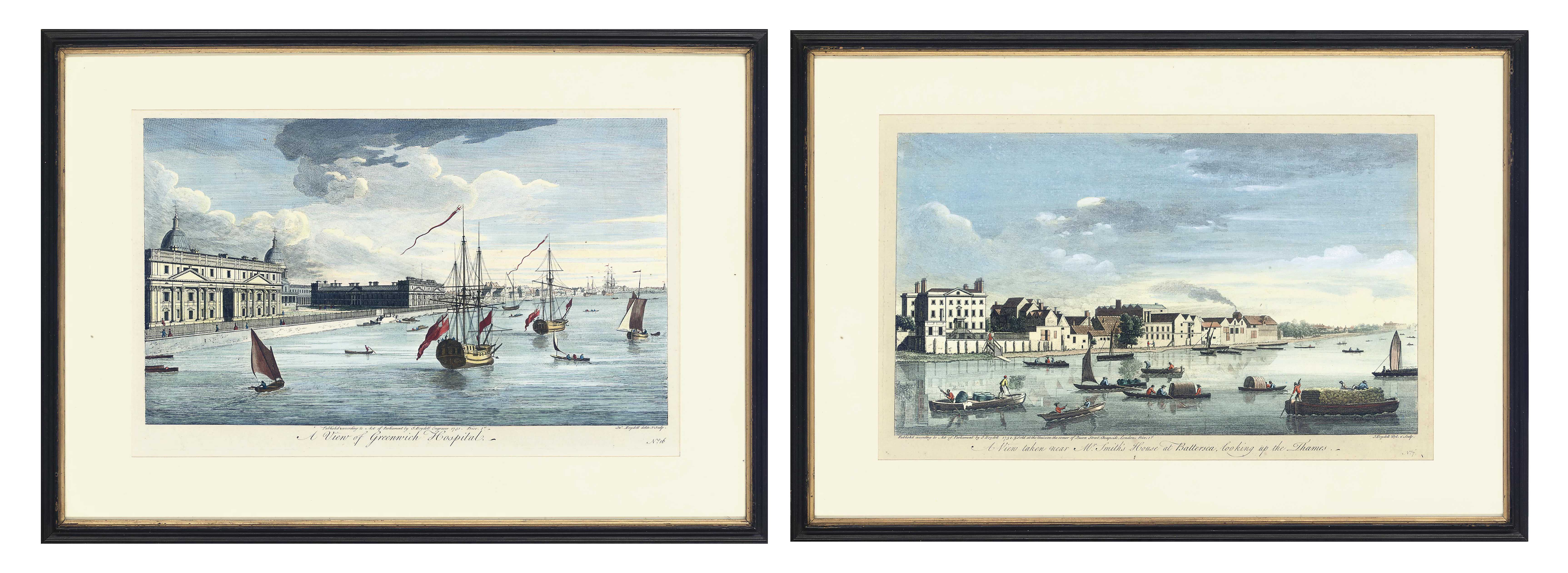 Views of London: A View of Westminster Bridge; A View taken near Mr Smith's House at Battersea, looking up the Thames; A View near Greenwich Hospital; A View of Hammersmith, looking down the Thames; A View of Erith, looking up the Thames; and A View taken near Battersea Church, looking towards Chelsea