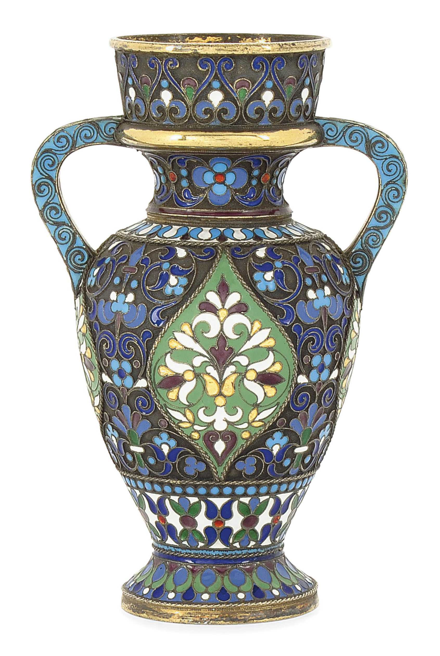 A RUSSIAN SILVER-GILT AND CLOISONNE ENAMEL VASE
