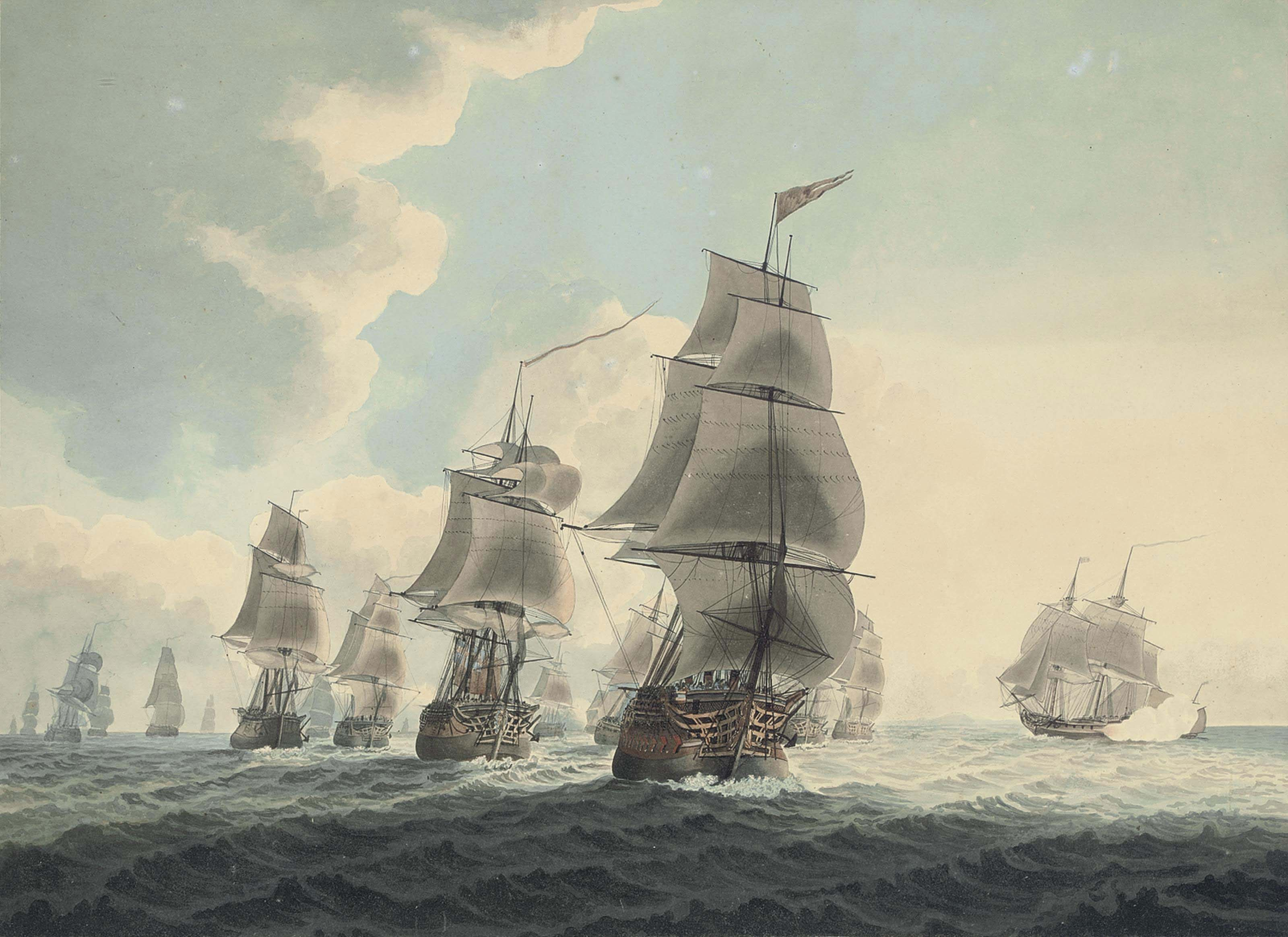 A squadron of the Royal Navy running down the Channel (illustrated); and An East Indiaman preparing to sail