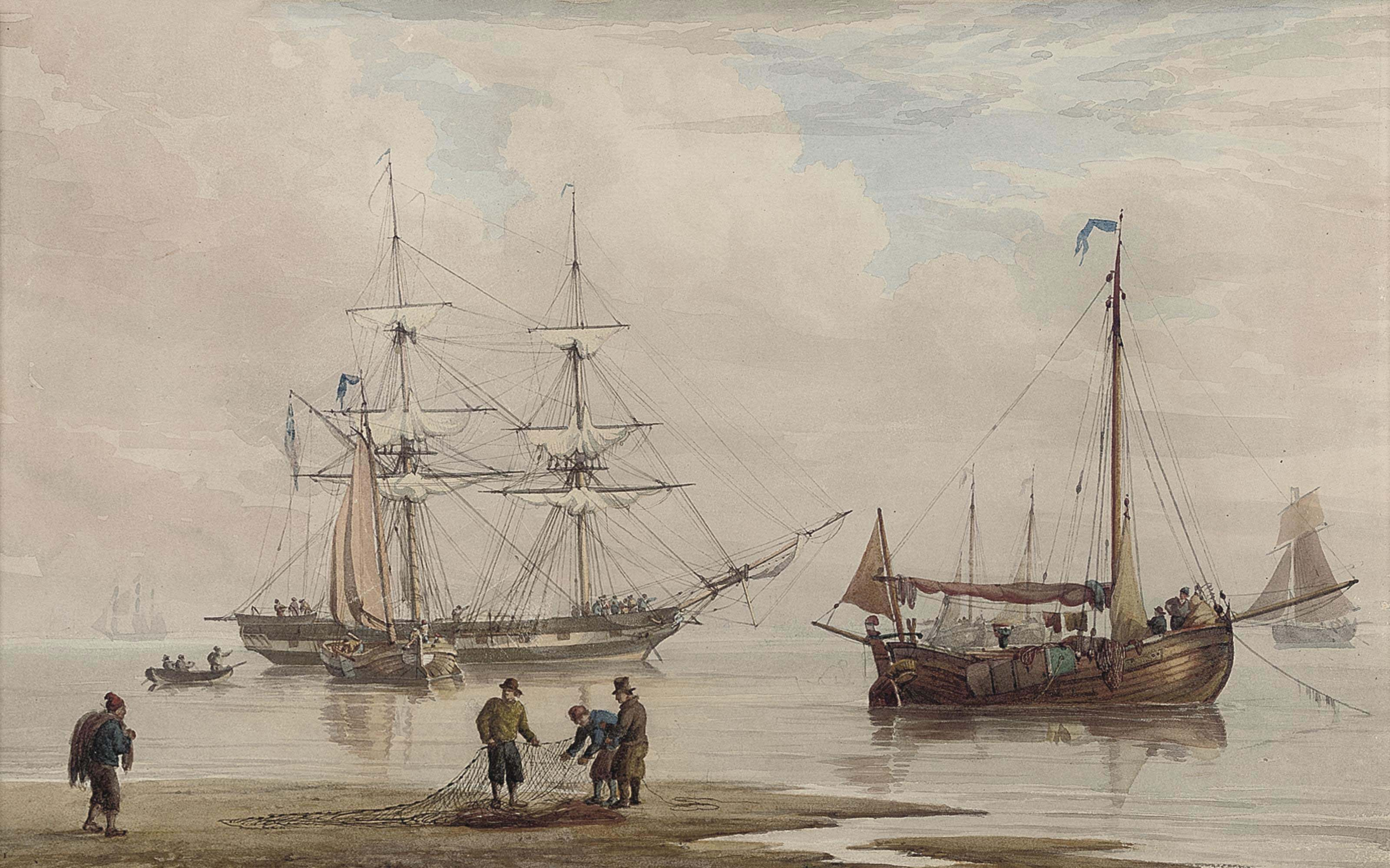 A trading brig amidst other shipping at anchor offshore (illustrated); and Dutch coastal craft and traders offshore