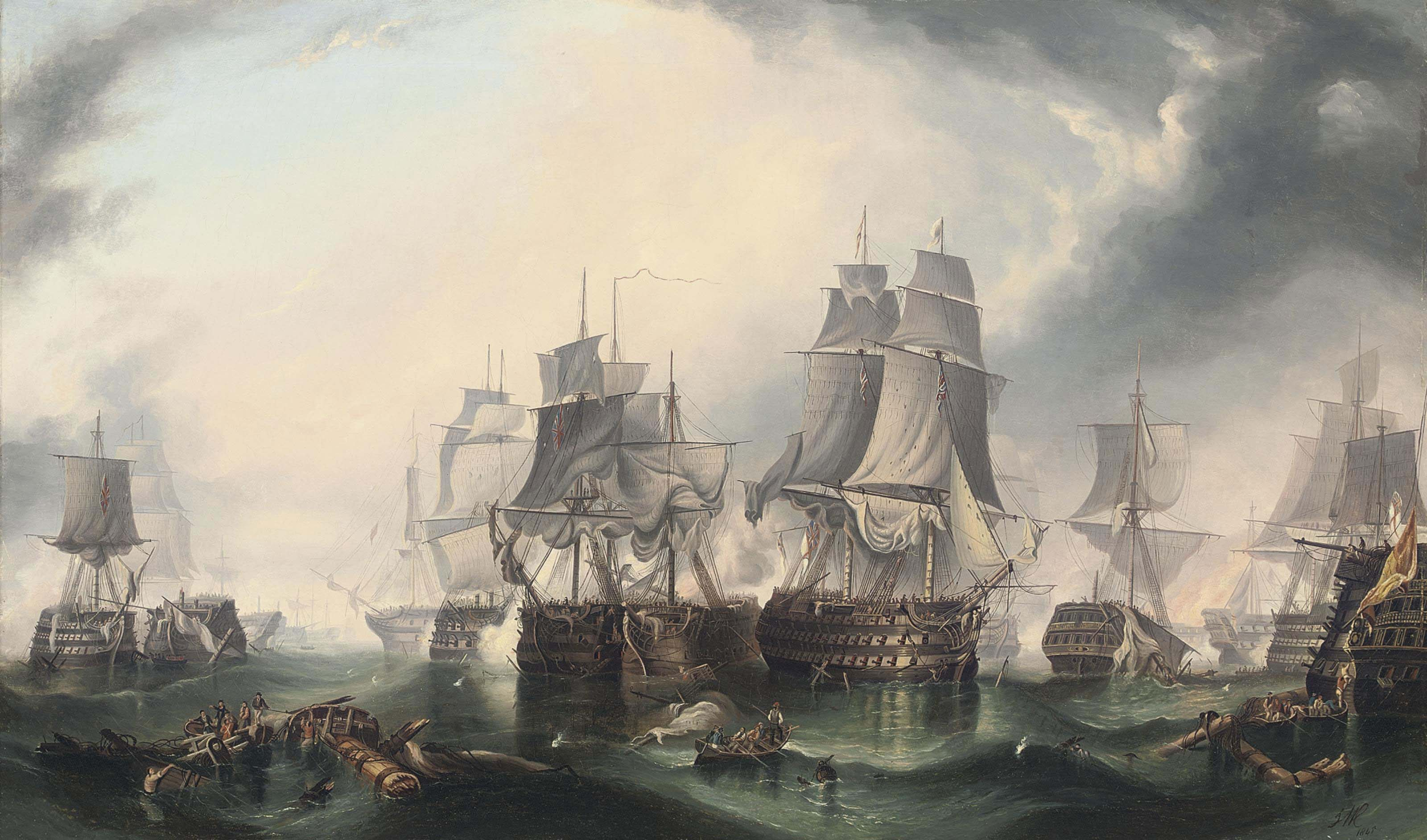 Trafalgar, in the heat of battle, 21st October 1805