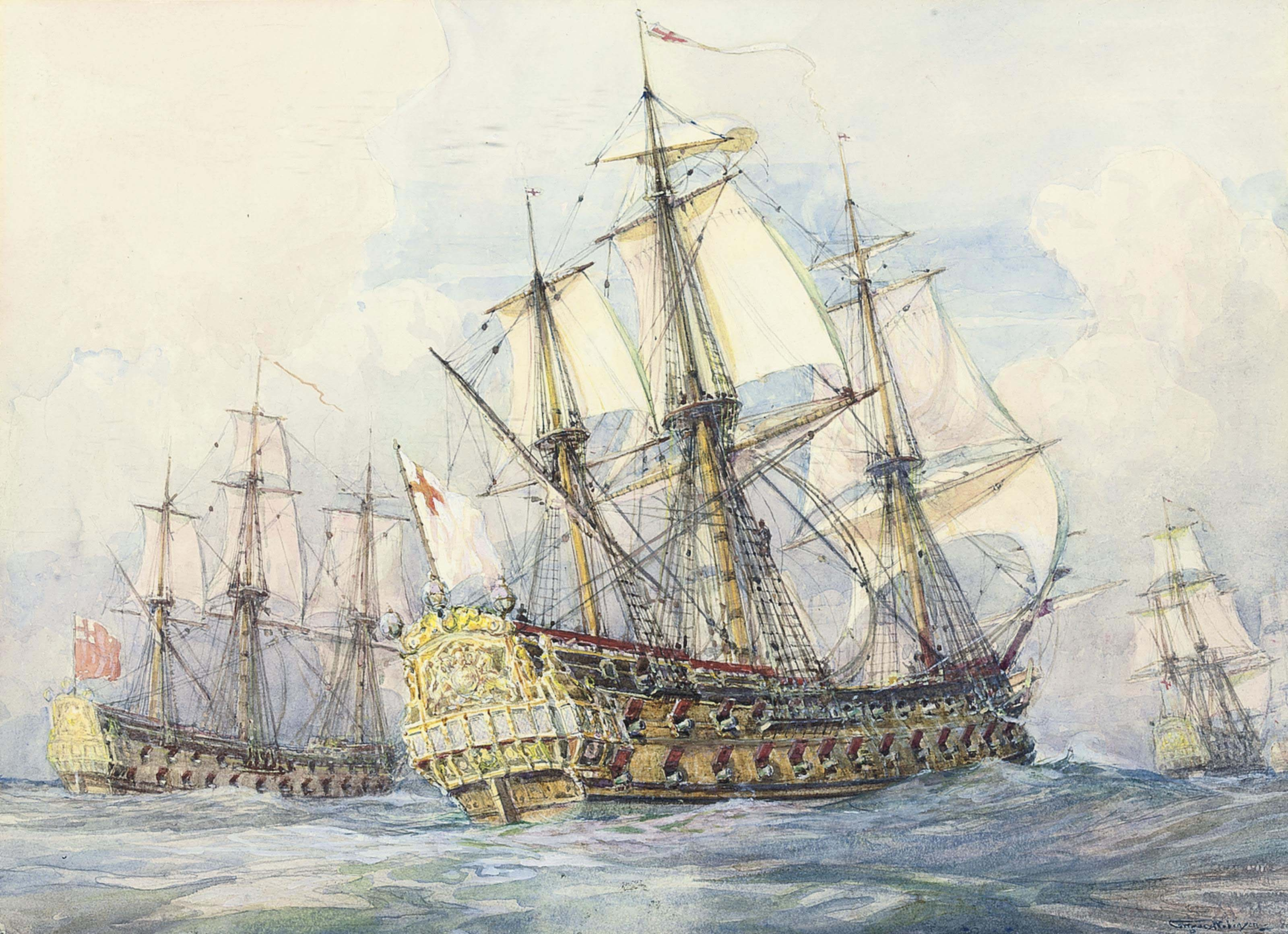 The English fleet running down the Channel
