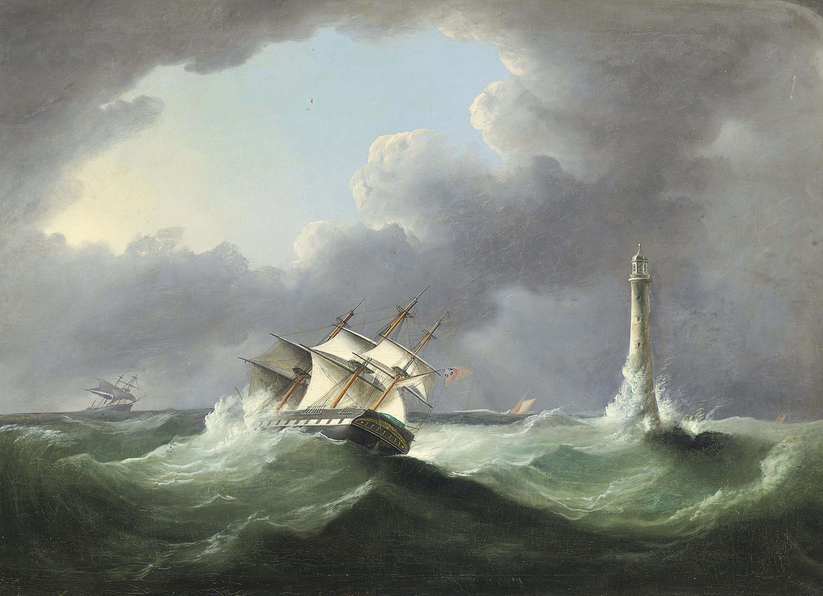 A merchantman reefed-down and heeling in heavy seas off the Eddystone lighthouse