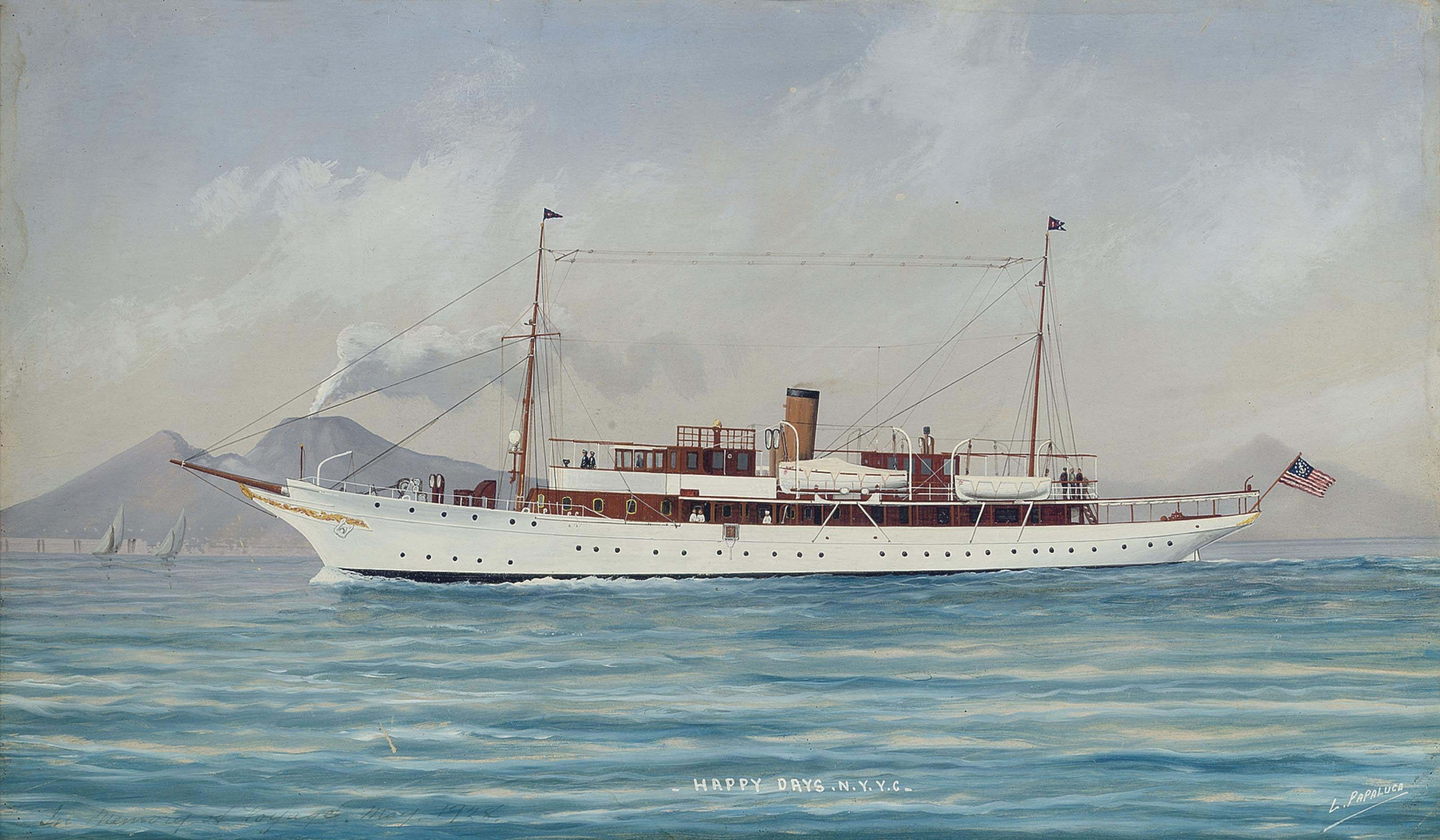 The New York Yacht Club's steam yacht Happy Days in Mediterranean waters off Naples, 1928