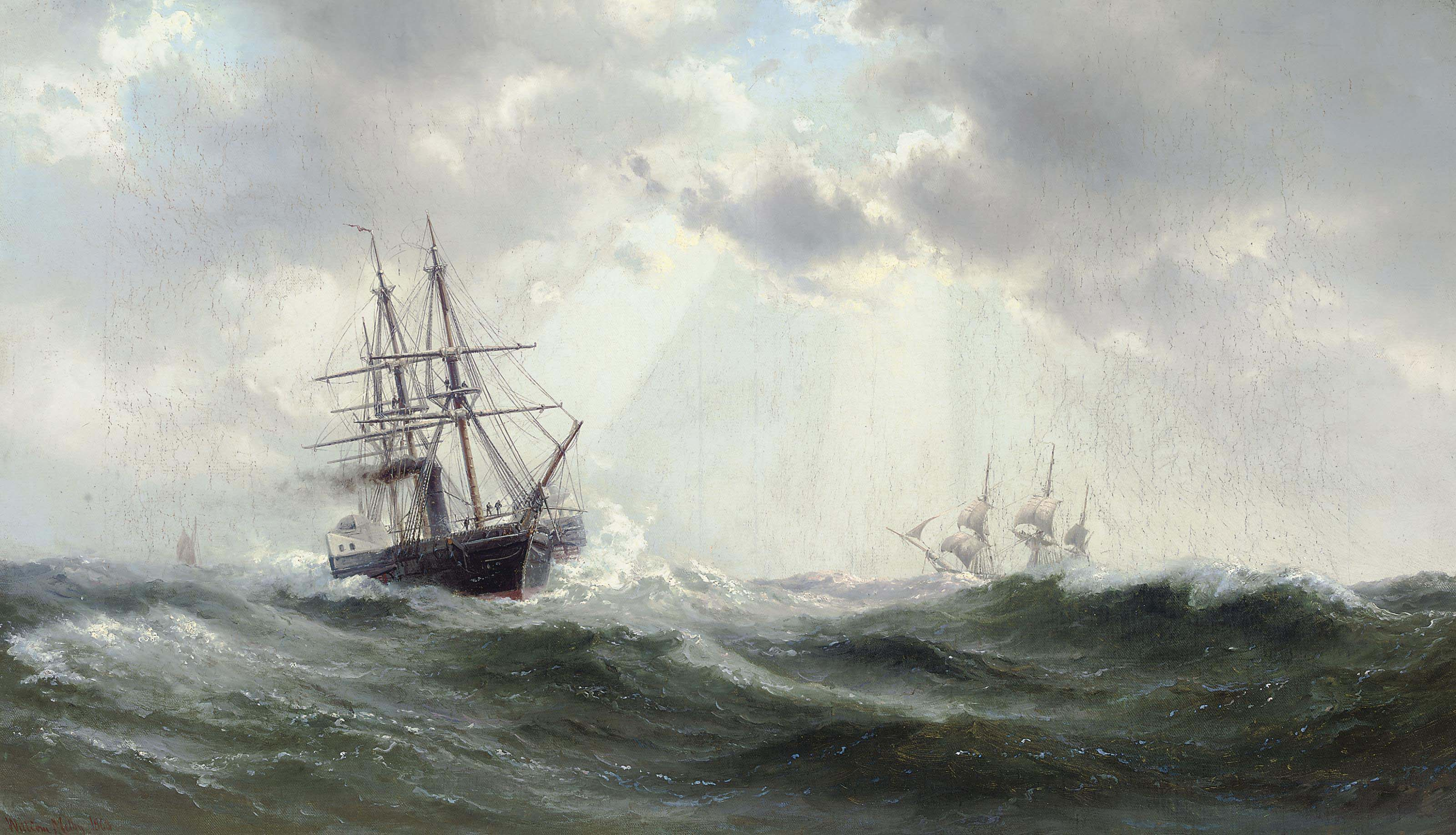 A paddlesteamer and other shipping in a heavy swell
