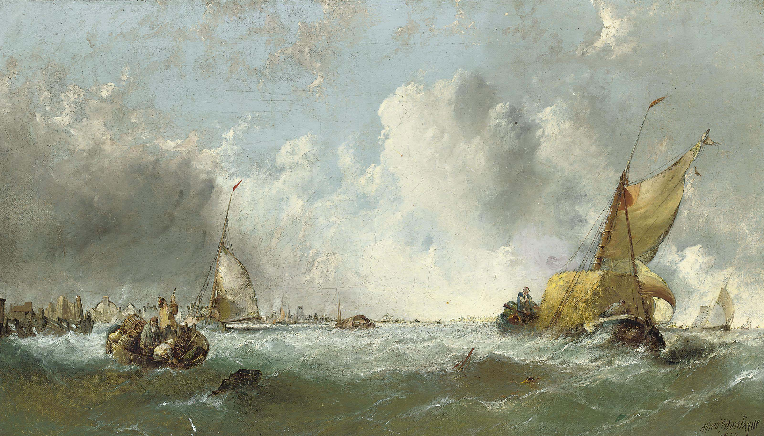 A hay barge and a hulk off a rocky coastline; and A hay barge leaving a Dutch harbour on a blustery day (illustrated)