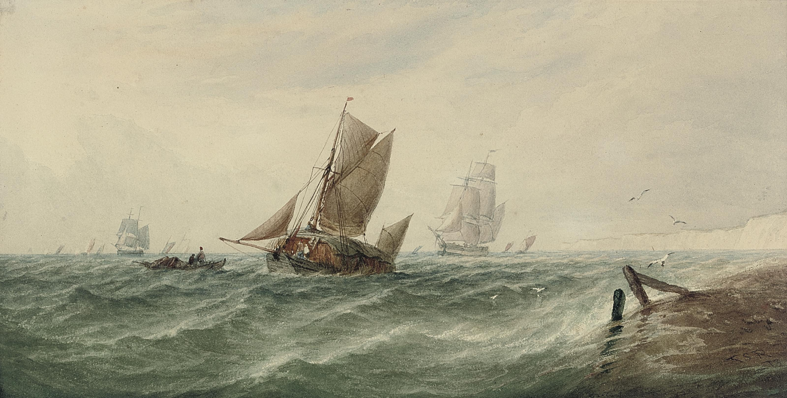 A loaded hay barge and other shipping in choppy waters off the White Cliffs of Dover