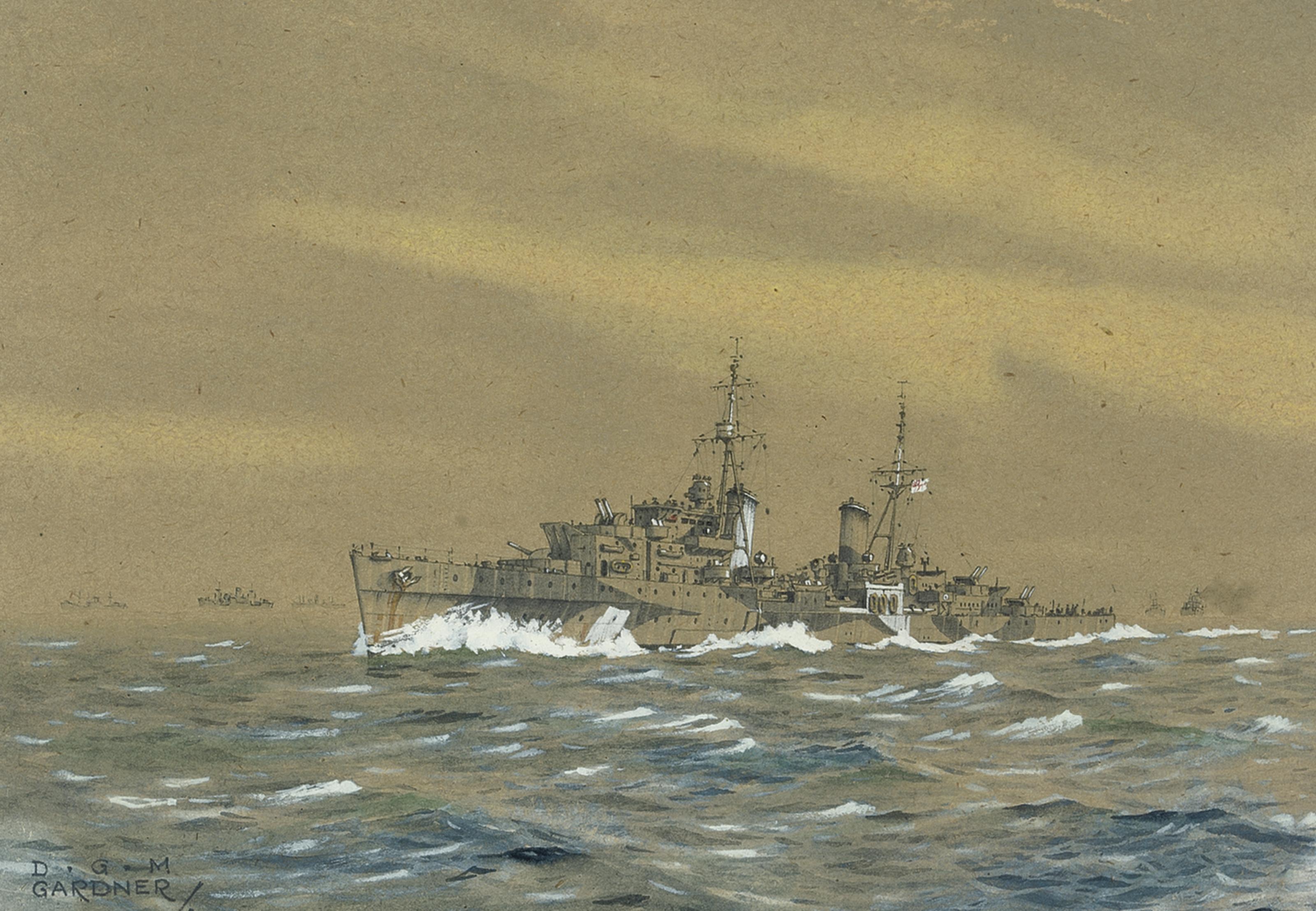 H.M.S. Elizabeth, 1942; H.M.S. Edinburgh, 1942; H.M.S. Scylla in the Arctic, 1943; H.M.S. Scylla, D-Day, 1944 (illustrated); H.M.S. Nairana in the Arctic, 1944; and H.M.S. Superb, 1945