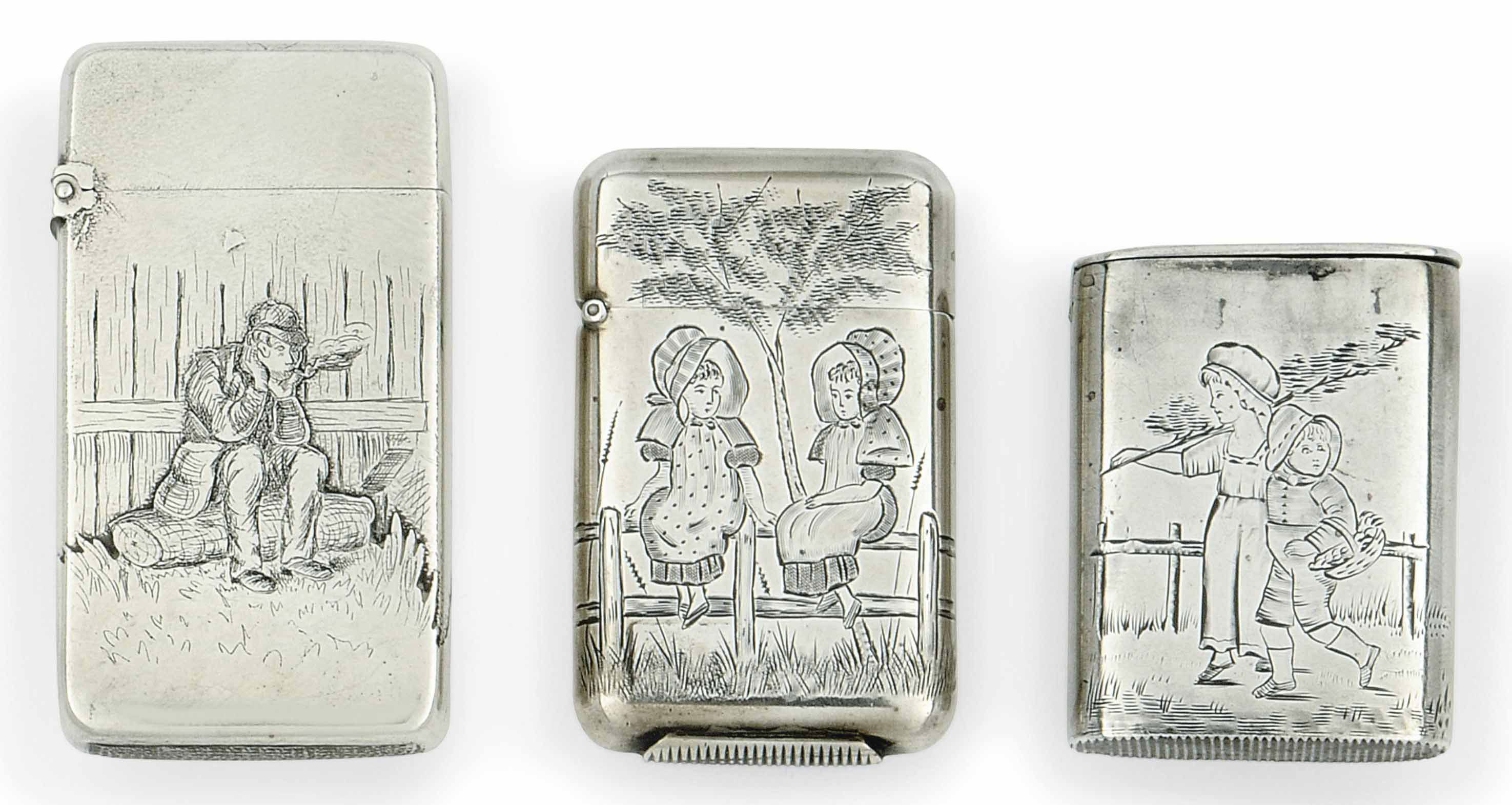 THREE ENGRAVED SILVER VESTA CASES, TWO VICTORIAN & ONE AMERICAN