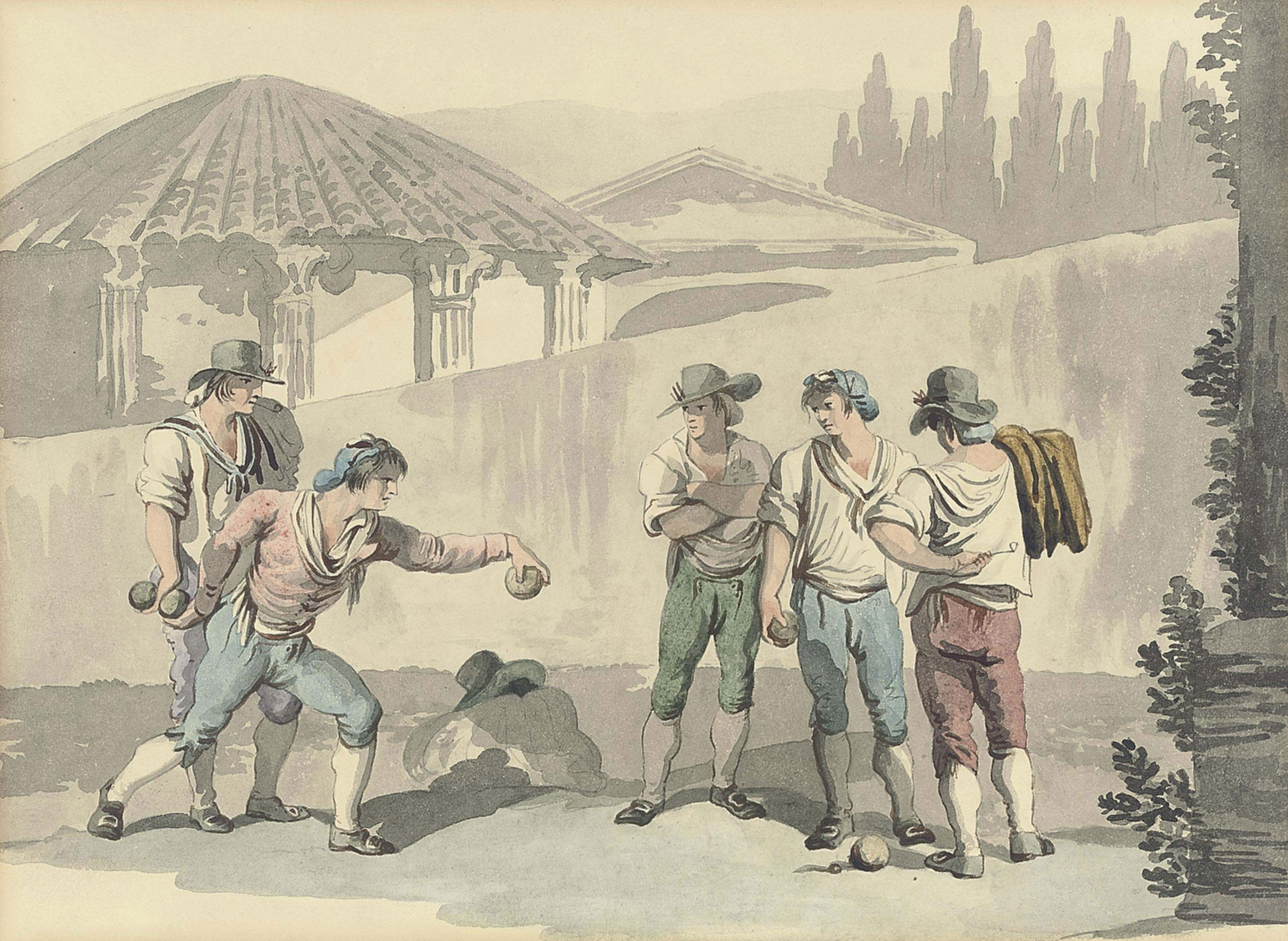 A game of bocce (illustrated); and Merrymaking at the water's edge