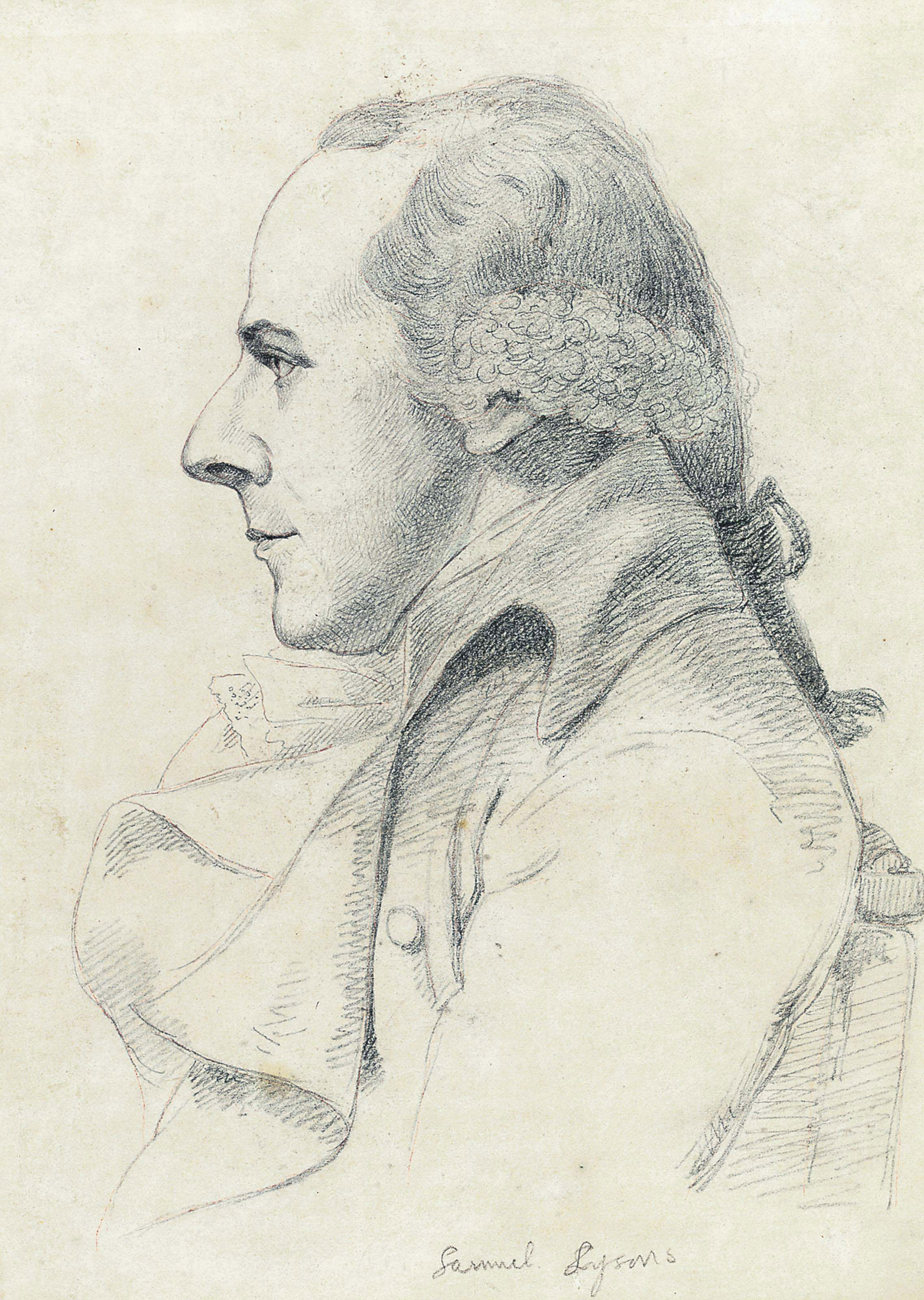 Portrait of Samuel Lysons, half-length, in profile to the left