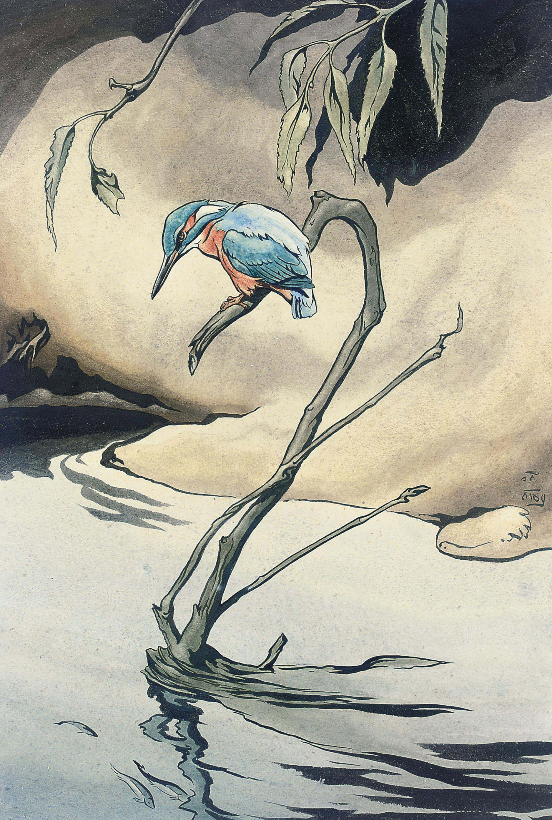 A kingfisher on a branch (illustrated); and A hovering kingfisher