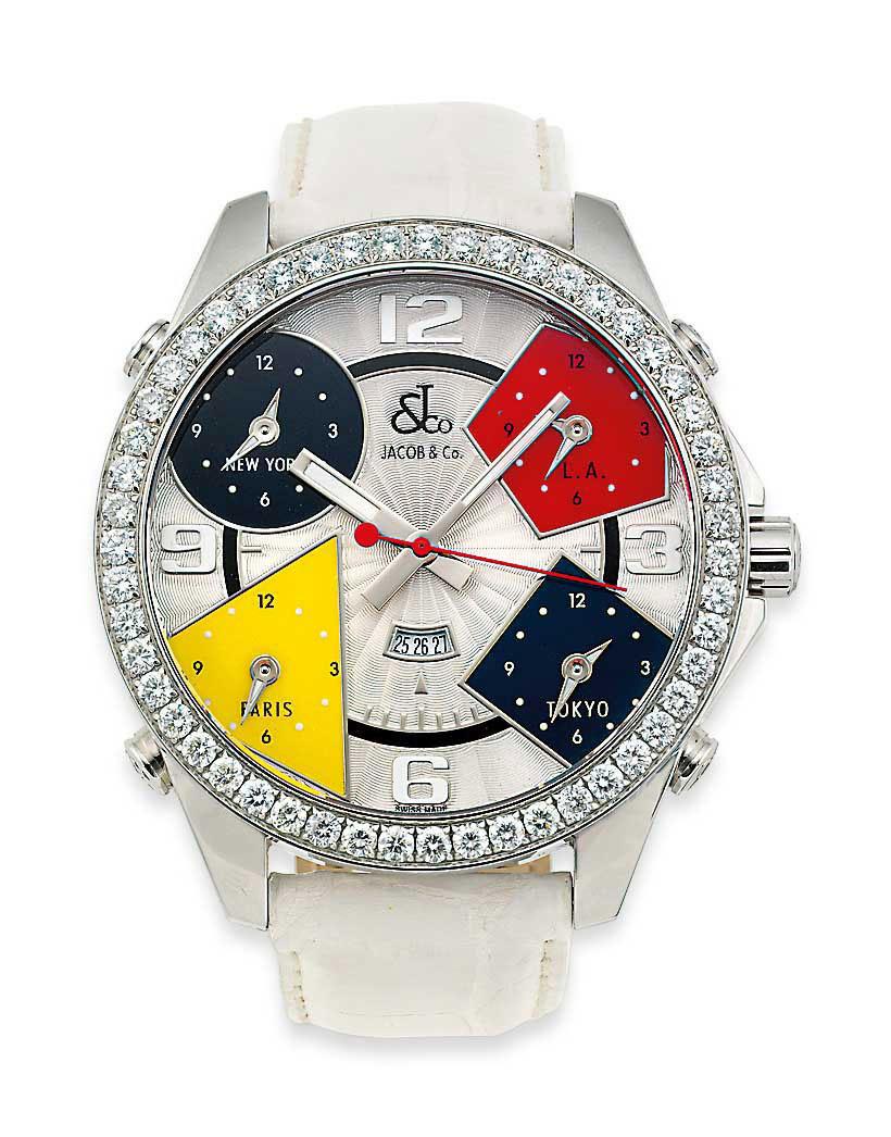 A diamond-set stainless steel five time zone quartz wristwatch, by Jacob & Co.