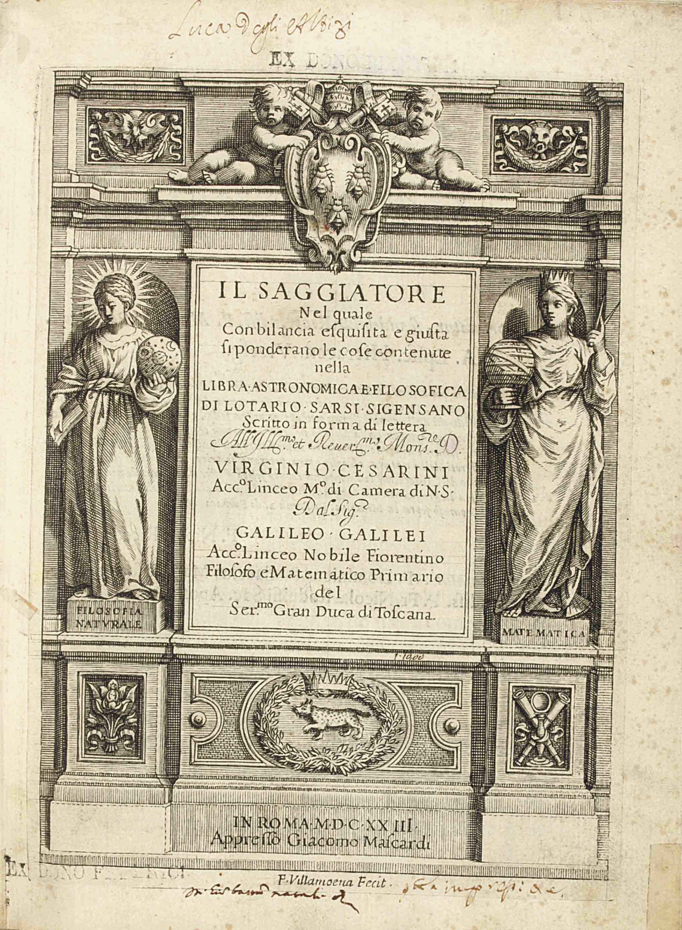 GALILEI, Galileo (1564-1642). Il saggiatore nel quale con bilancia esquisita e giusta si ponderano le cose contenute nella libra astronomica e filosofica di Lotario Sarsi Sigensano. Rome: Giacomo Mascardi, 1623. 4° (215 x 158mm). Engraved title-page, portrait of Galileo, woodcut initials and headpiece, engraved diagrams in text. Without 4 leaves of preliminary verses present in some issues. (Minor marginal repairs in first four leaves, occasional spotting and browning, repairs to some leaves.) Early vellum, title to spine and bottom edges in early manuscript (minor worming to upper panel, spine lightly soiled). Provenance: Luca degli Albizzi (ownership inscription to title-page, copious notes and corrections in brown ink throughout).