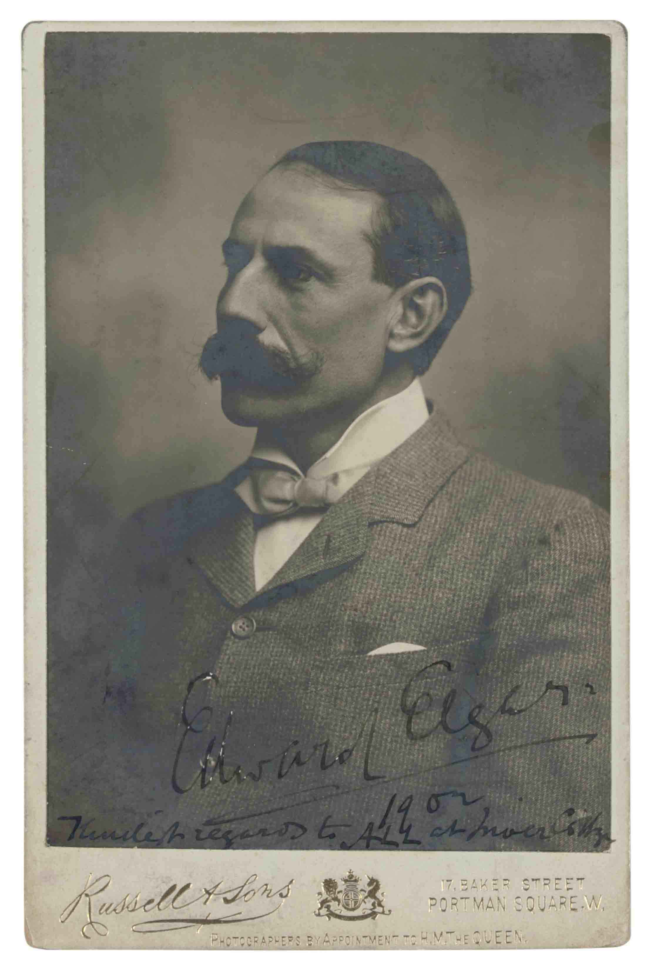 ELGAR, Edward (1857-1934). Cabinet portrait photograph signed (on the image, 'Edward Elgar'), 1902, and inscribed 'Kindest regards to ALL at Inver Cottage', the image 145 x 100mm, the mount 164 x 107mm, by Russell & Sons, Baker Street, no.48008 (some oxidisation at margins).
