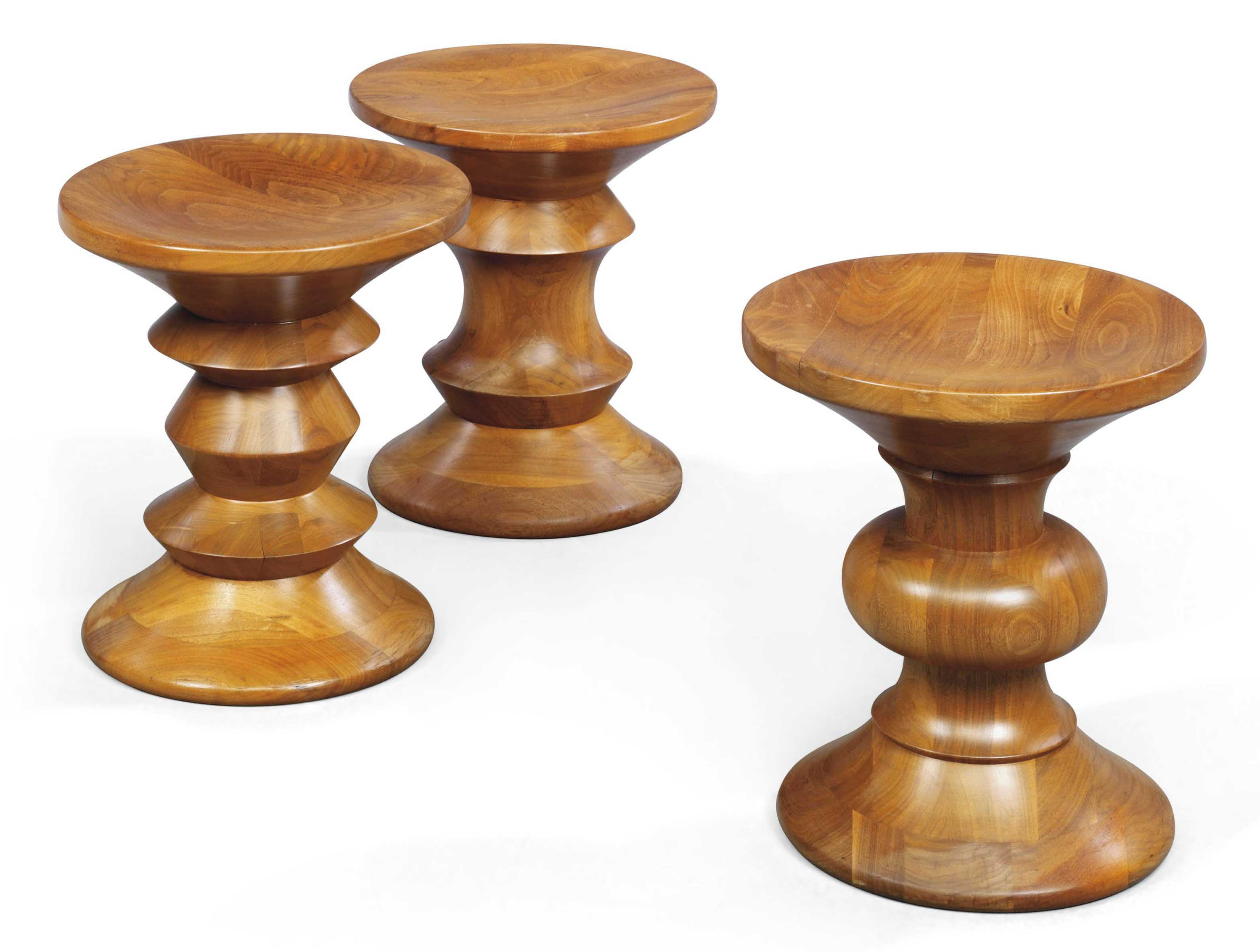 A SET OF THREE 'TIME LIFE' STOOLS, DESIGNED BY CHARLES AND RAY EAMES PRODUCED BY HERMAN MILLER
