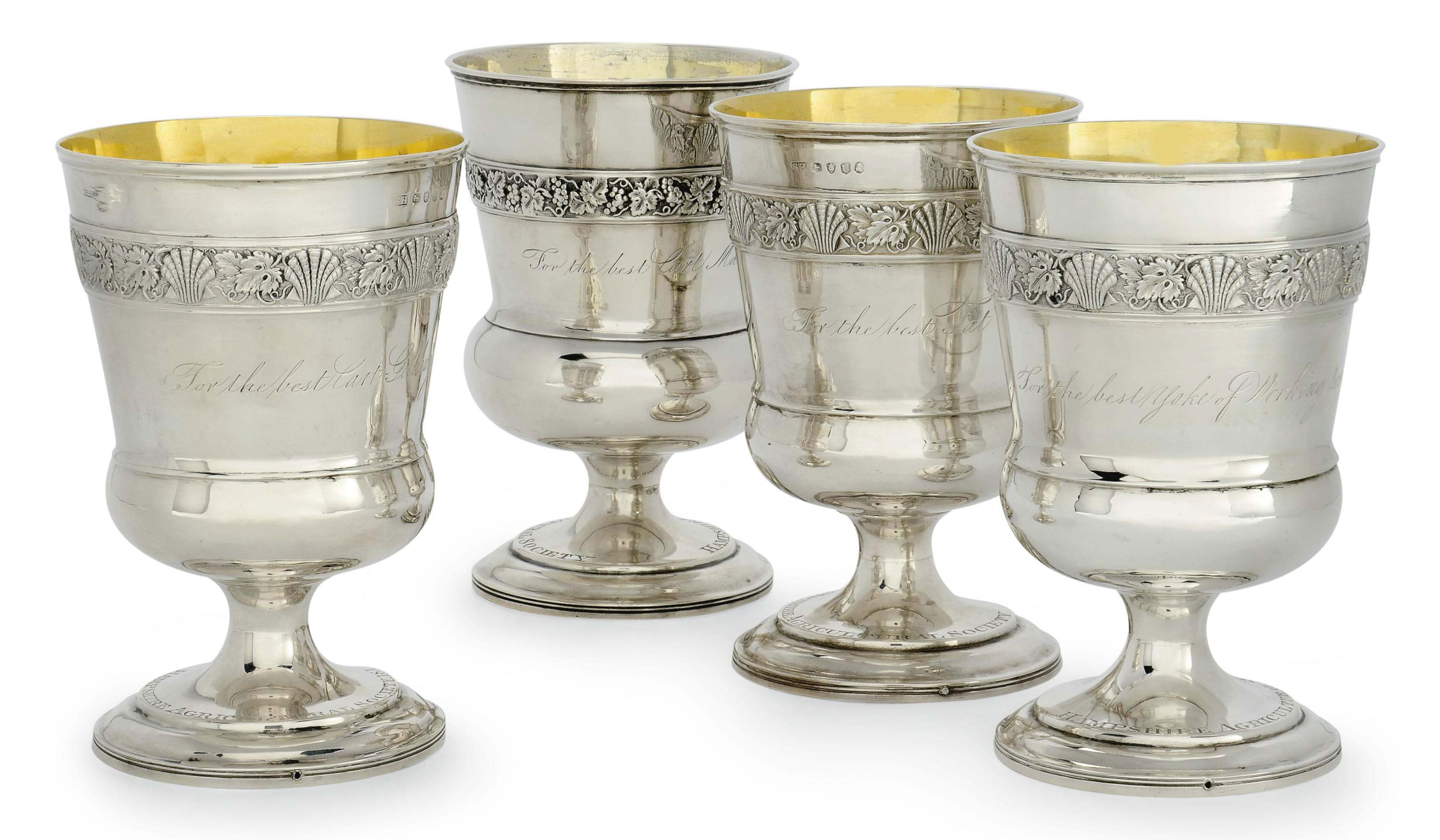 A MATCHED SET OF FOUR GEORGE III SILVER GOBLETS OF AGRICULTURAL INTEREST