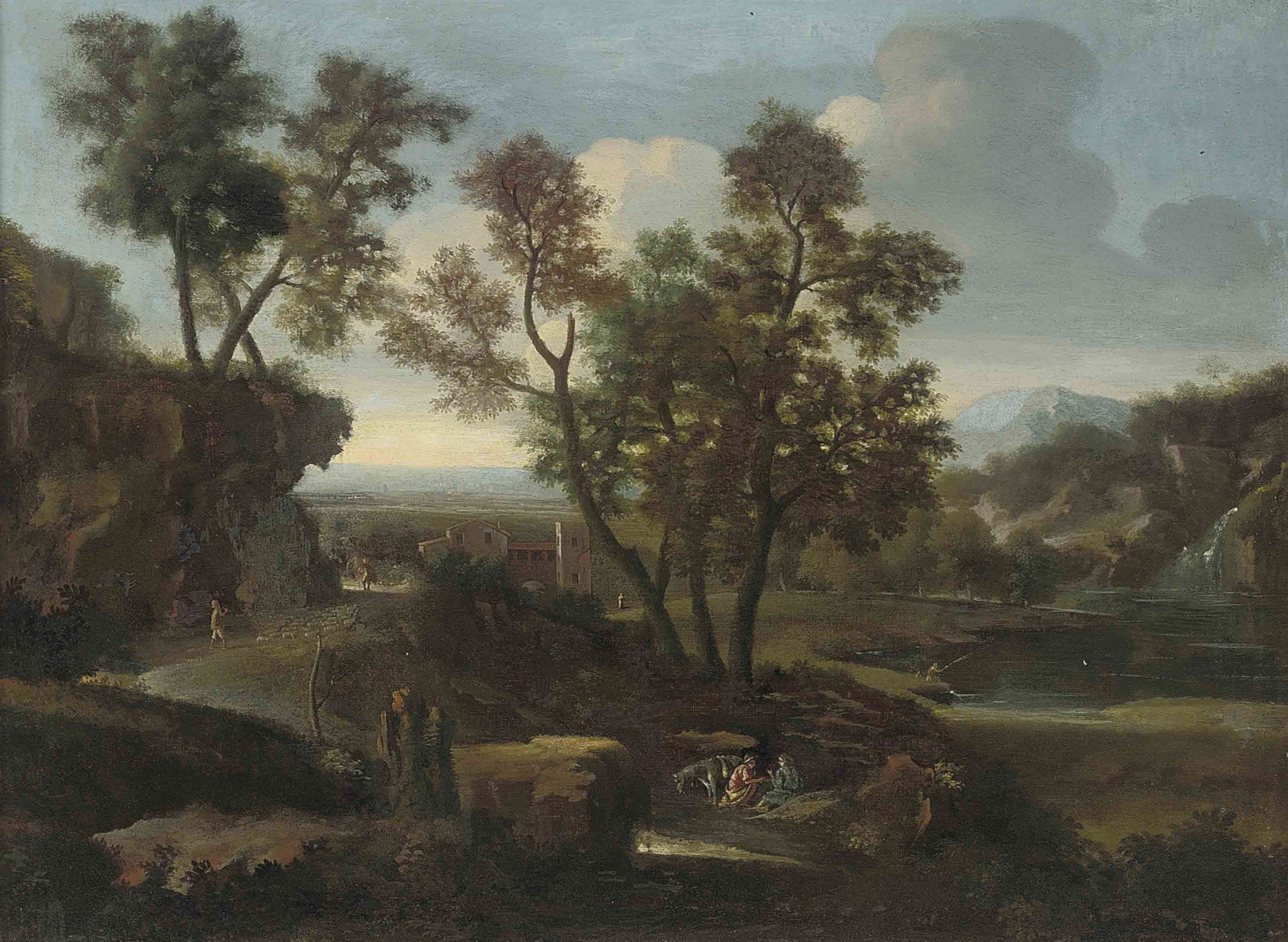 An Italianate wooded river landscape with a shepherd and his flock on a track