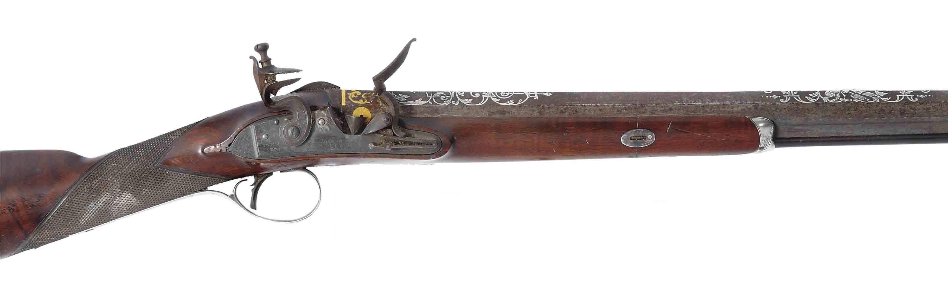 AN 18-BORE SILVER-MOUNTED SINGLE-BARRELLED FLINTLOCK SPORTING GUN