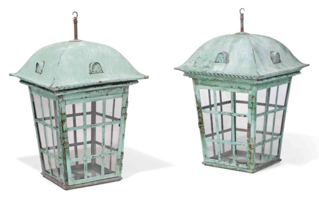 A PAIR OF LARGE PATINATED COPP