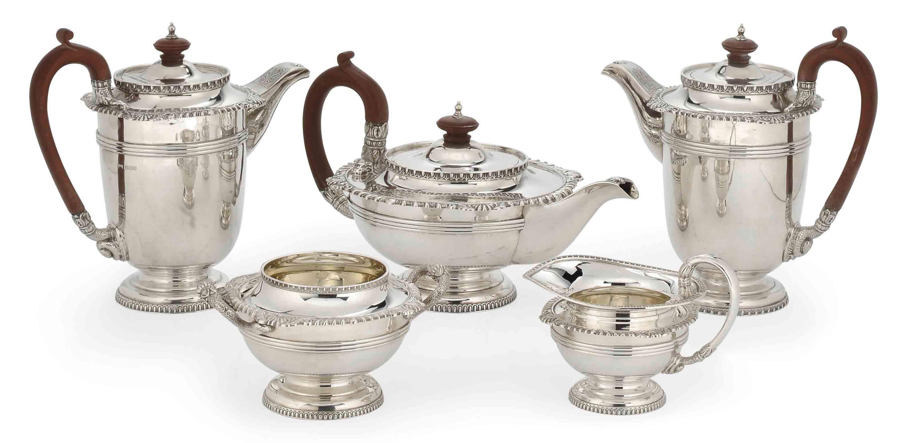 A FIVE-PIECE SILVER TEA AND COFFEE SERVICE