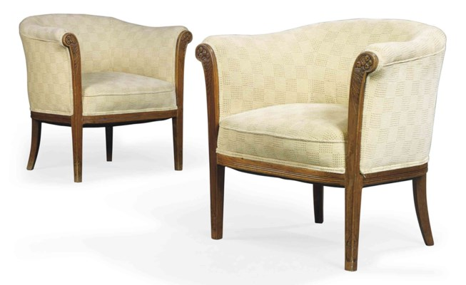 A RIGAL FRÈRES PAIR OF UPHOLST