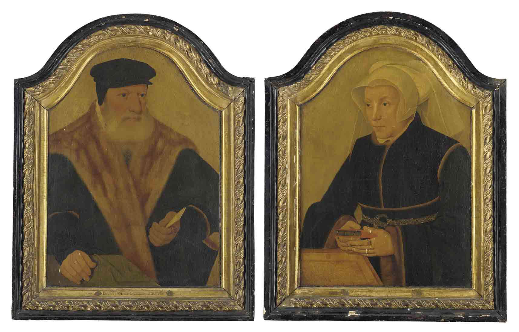 Portrait of a bearded gentleman, half-length, in a black coat and cap, a letter in his left hand; and Portrait of a lady, half-length, in a black gown and white wimple, holding a book